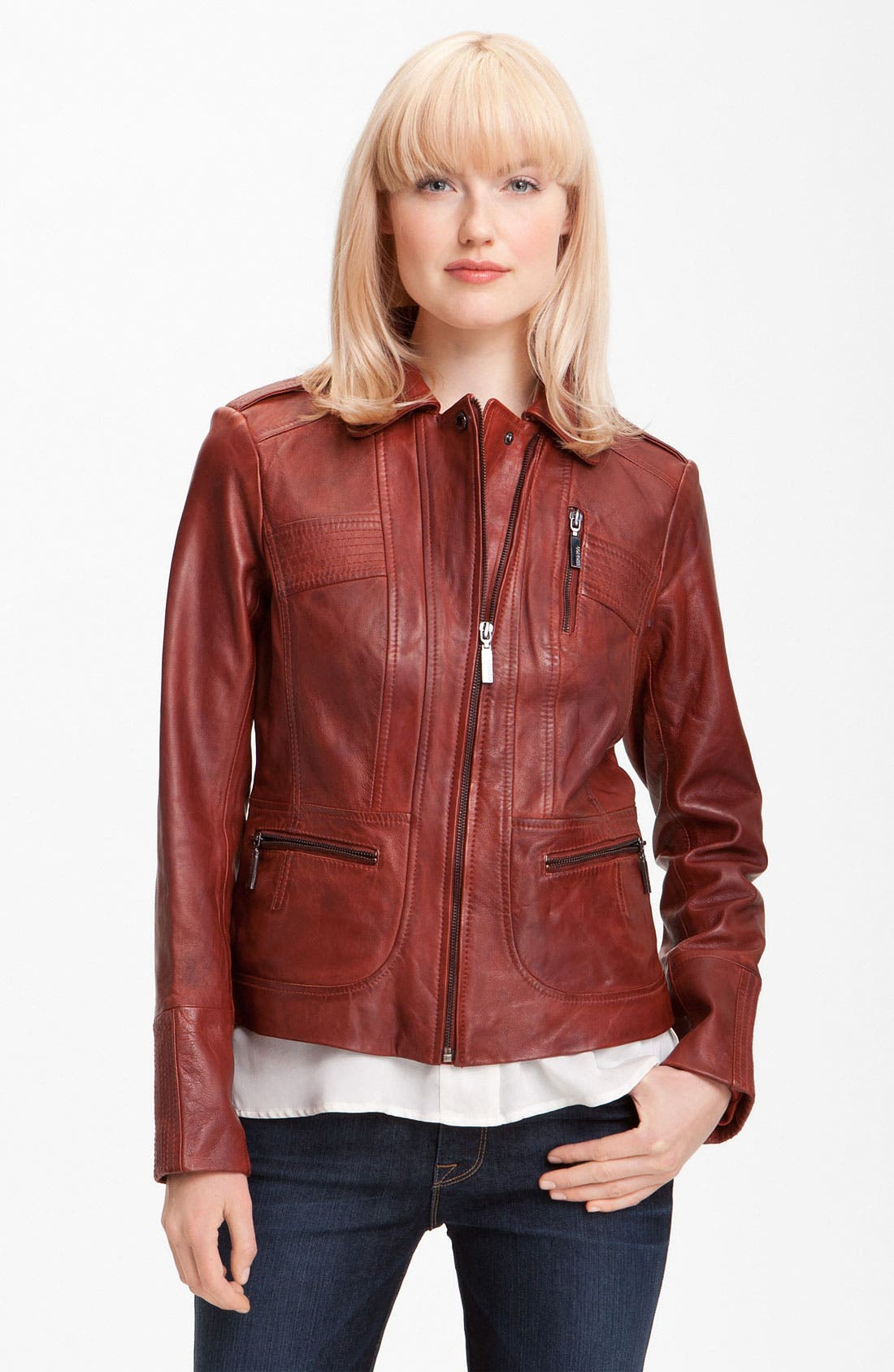 Main Image - Bernardo Collared Leather Scuba Jacket