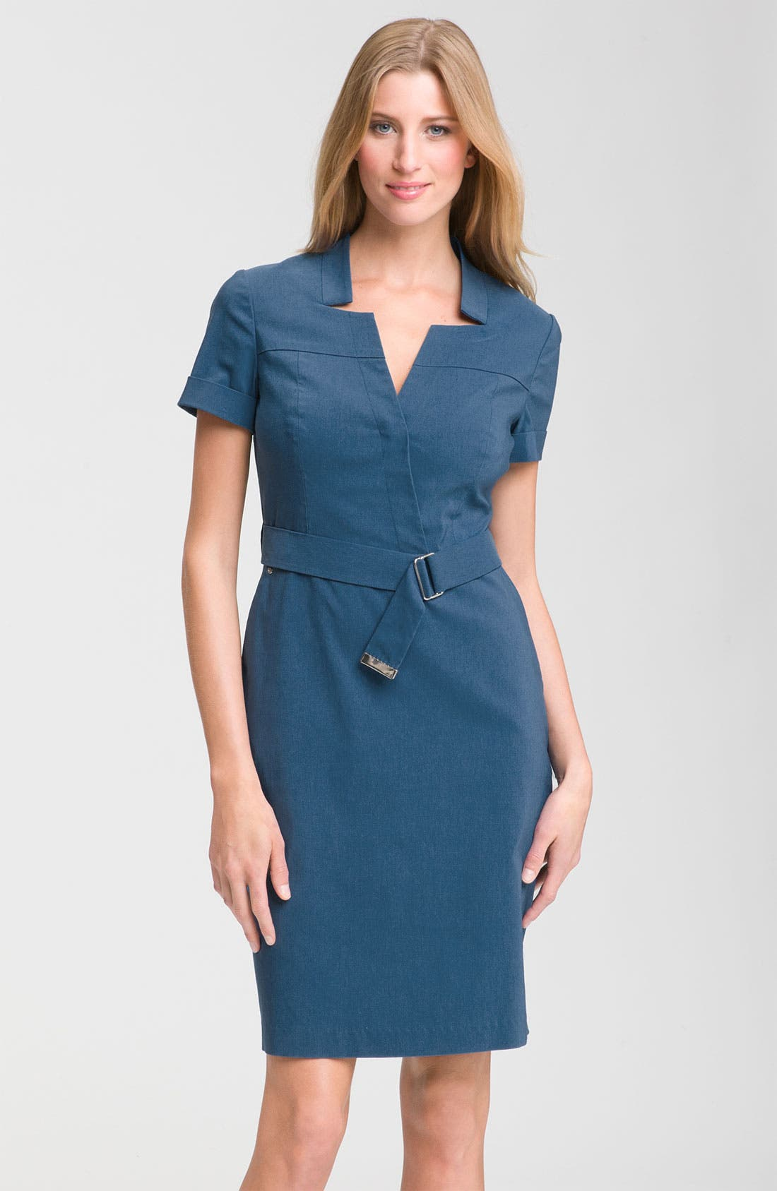 Main Image - Adrianna Papell Notched Neckline Shirtdress