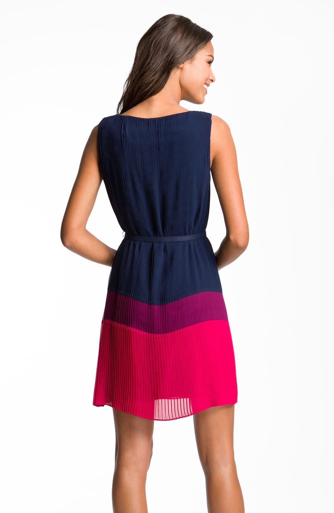 Alternate Image 2  - Eliza J Pleated Colorblock Chiffon Dress