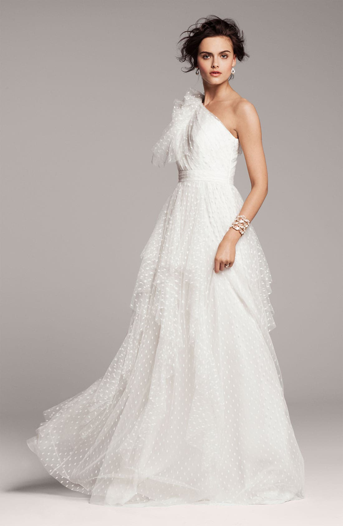 Alternate Image 3  - Carmen Marc Valvo Dotted Tulle One Shoulder Gown