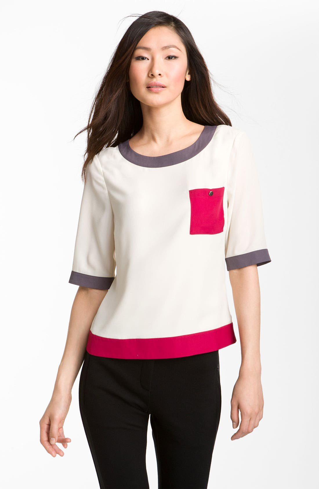 Alternate Image 1 Selected - Ted Baker London Colorblock Woven Tee