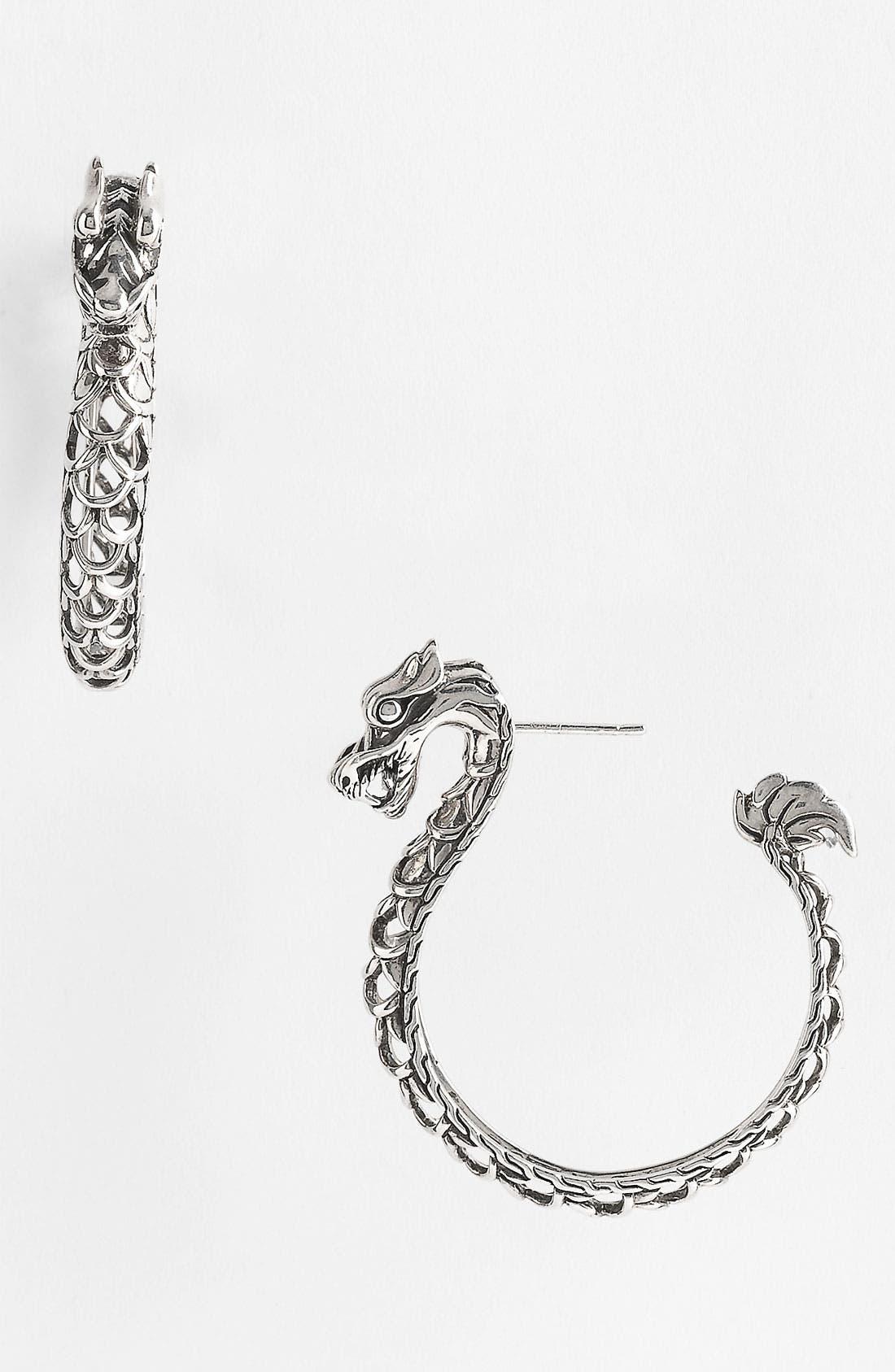 Main Image - John Hardy 'Naga Silver - Medium' Dragon Head Hoop Earrings