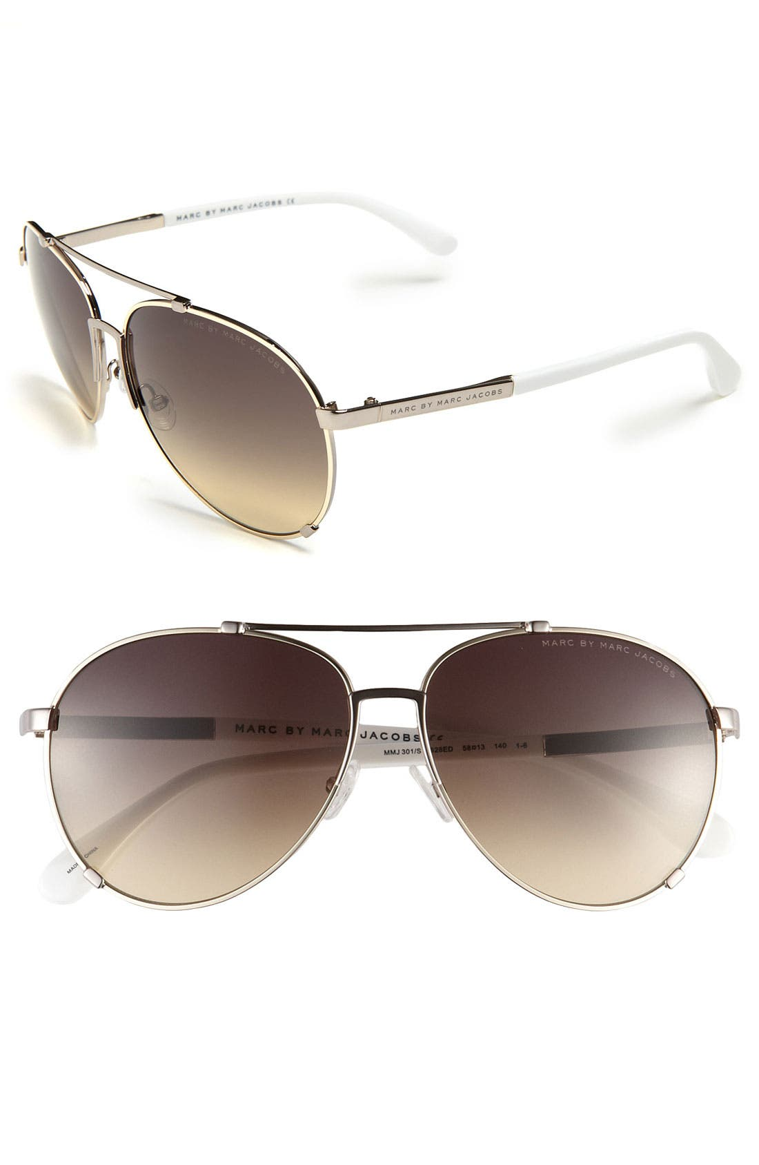 Main Image - MARC BY MARC JACOBS 58mm Metal Aviator Sunglasses