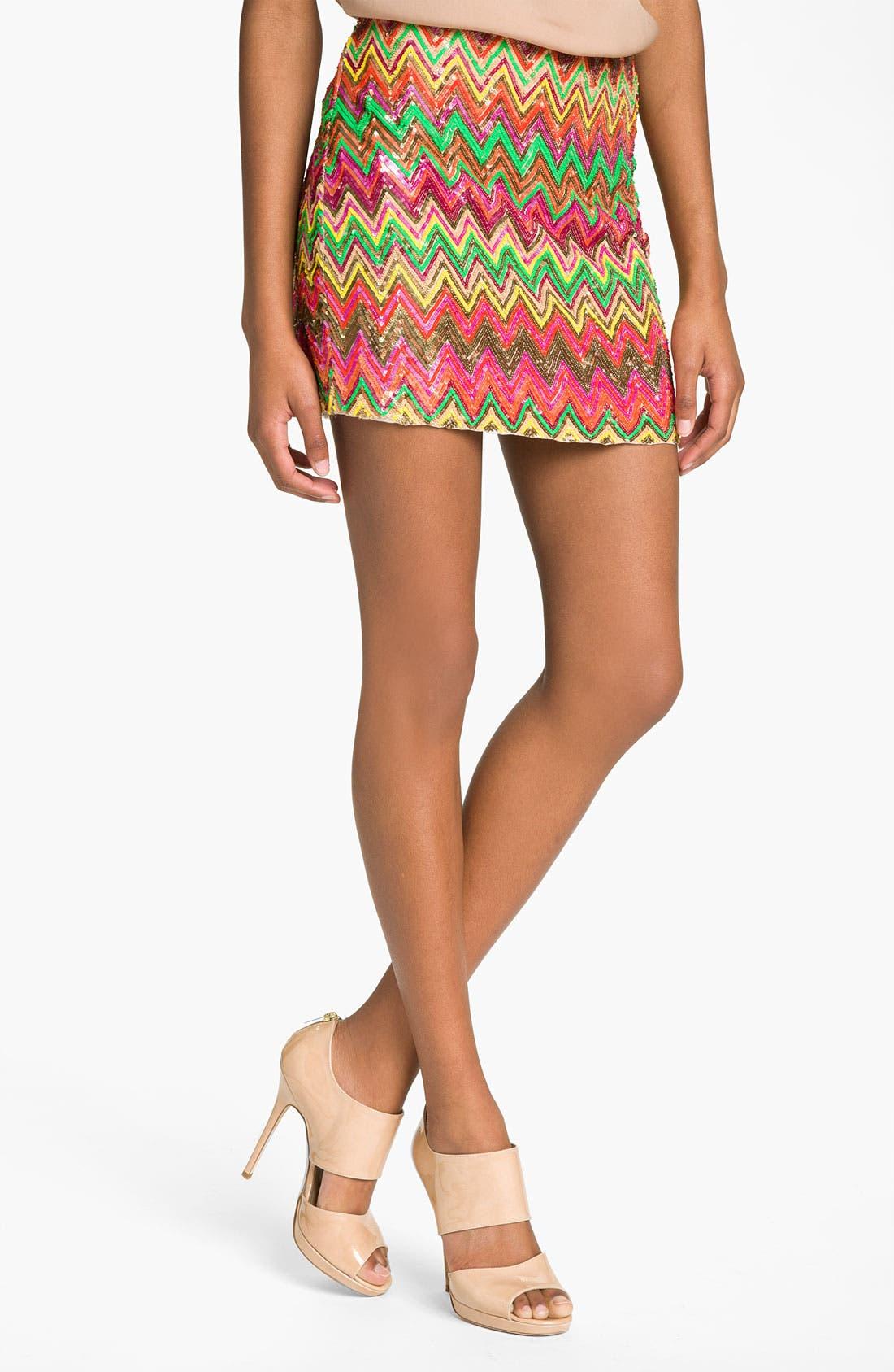 Alternate Image 1 Selected - Haute Hippie Chevron Sequin Miniskirt