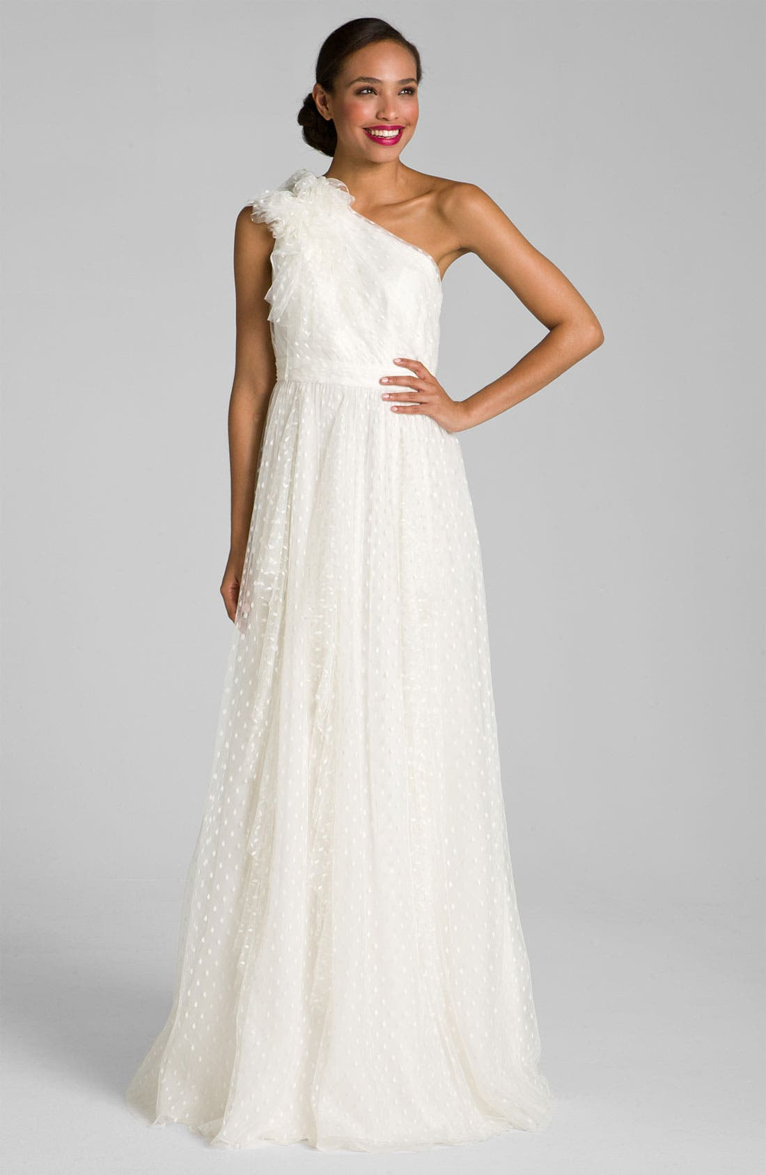 Alternate Image 2  - Carmen Marc Valvo Dotted Tulle One Shoulder Gown