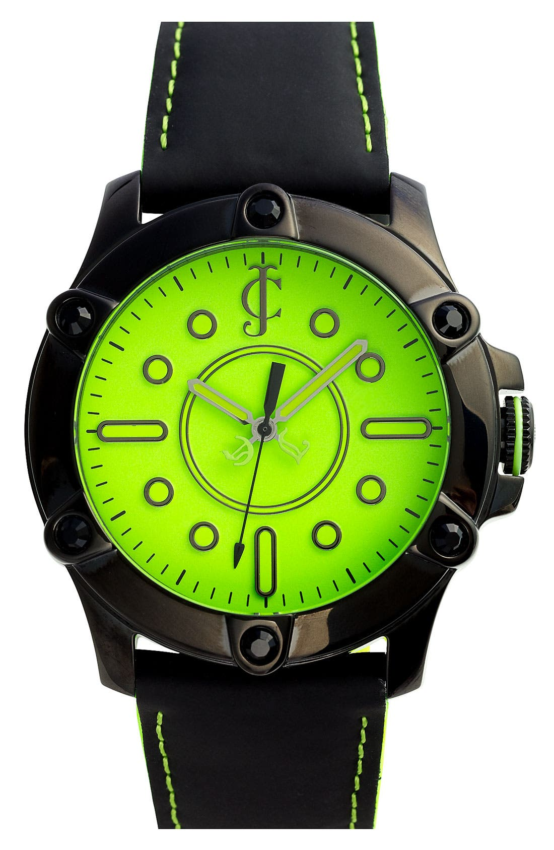 Alternate Image 1 Selected - Juicy Couture 'Surfside' Round Leather Strap Watch
