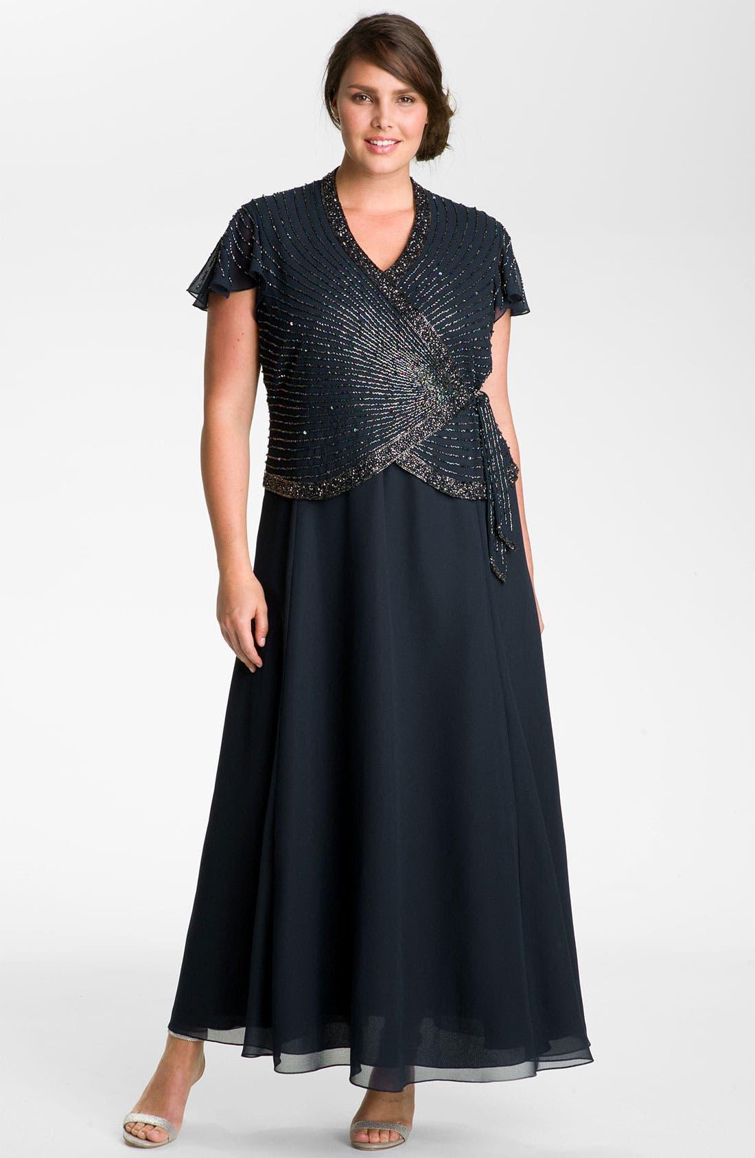 Alternate Image 1  - J Kara Beaded Mock Two-Piece Wrap Dress (Plus Size)
