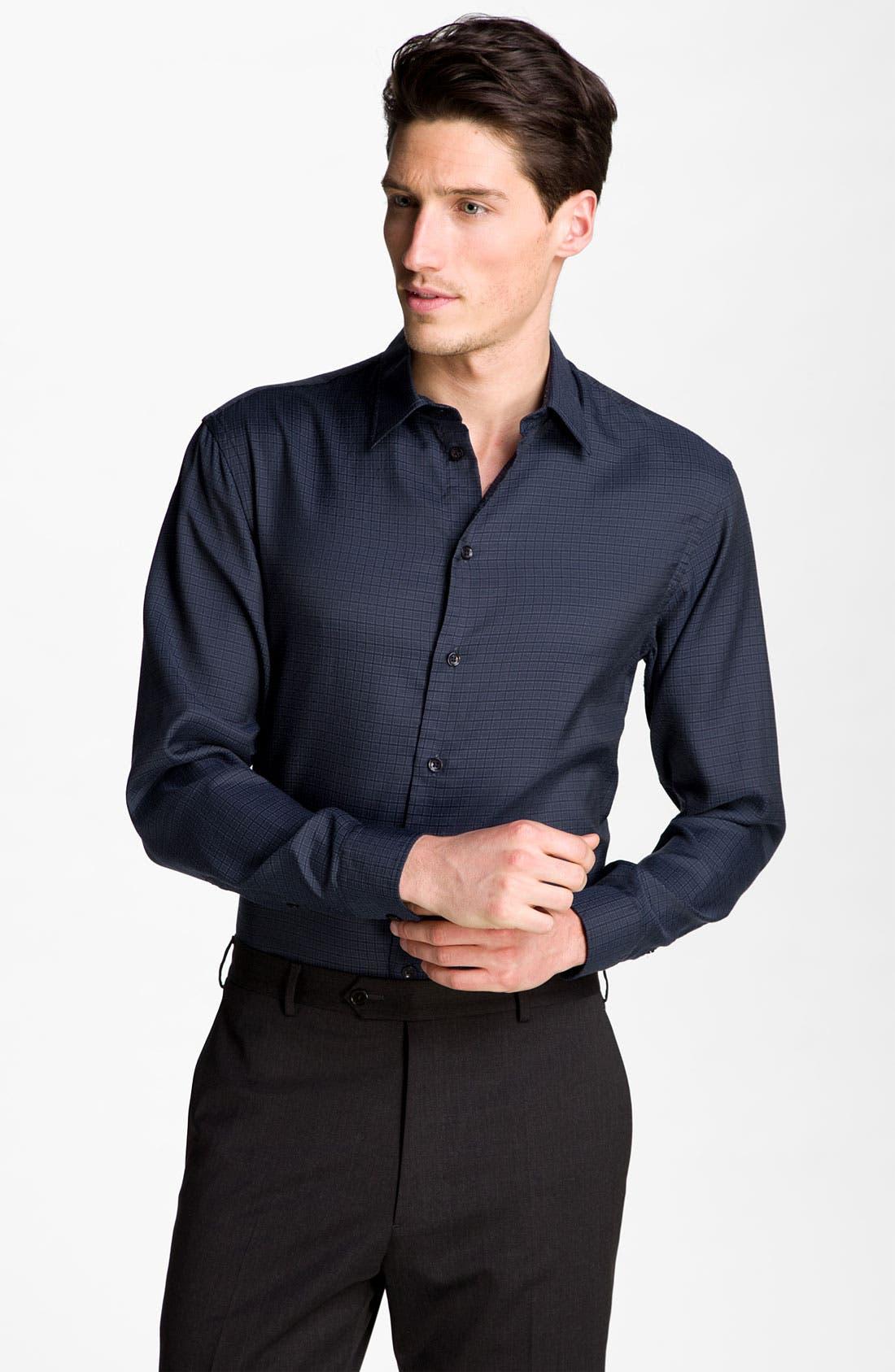Alternate Image 1 Selected - Armani Collezioni Grid Check Woven Shirt