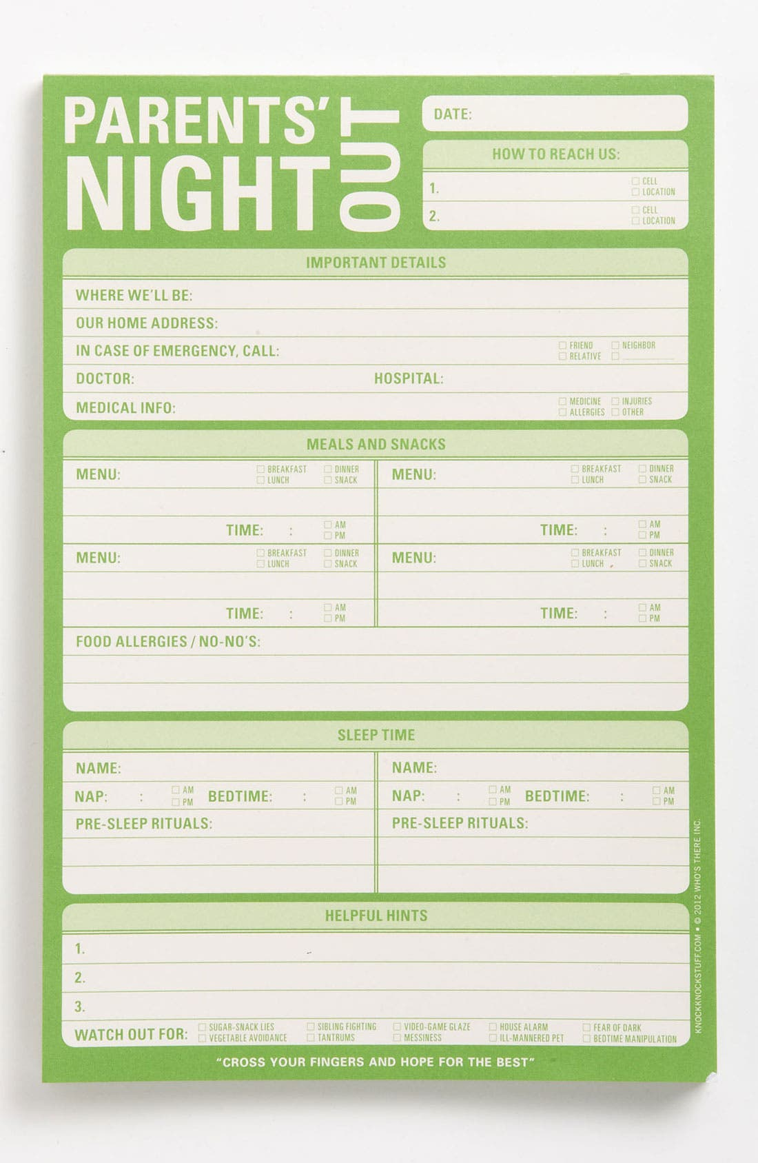 Main Image - Knock Knock 'Parents' Night Out' Notepad