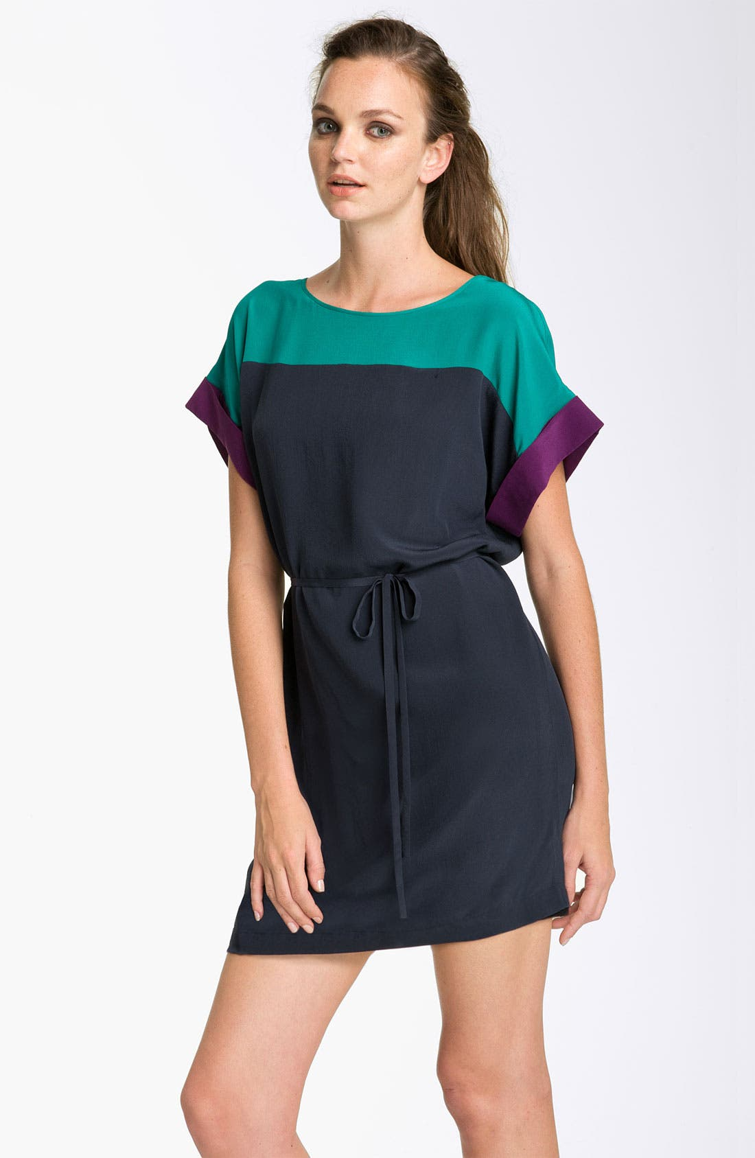 Main Image - French Connection Colorblock Silk Shift Dress