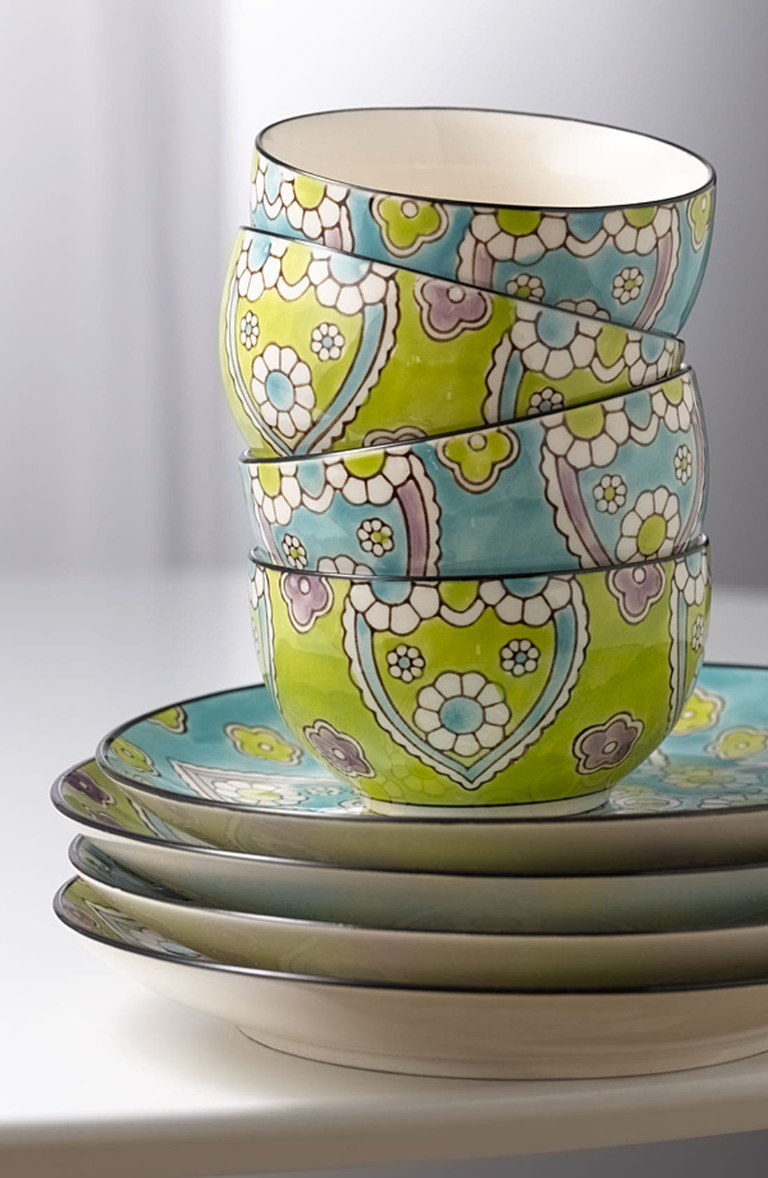 Alternate Image 3  - Hand-Painted 'Lotus' Dessert Plates (Set of 4)