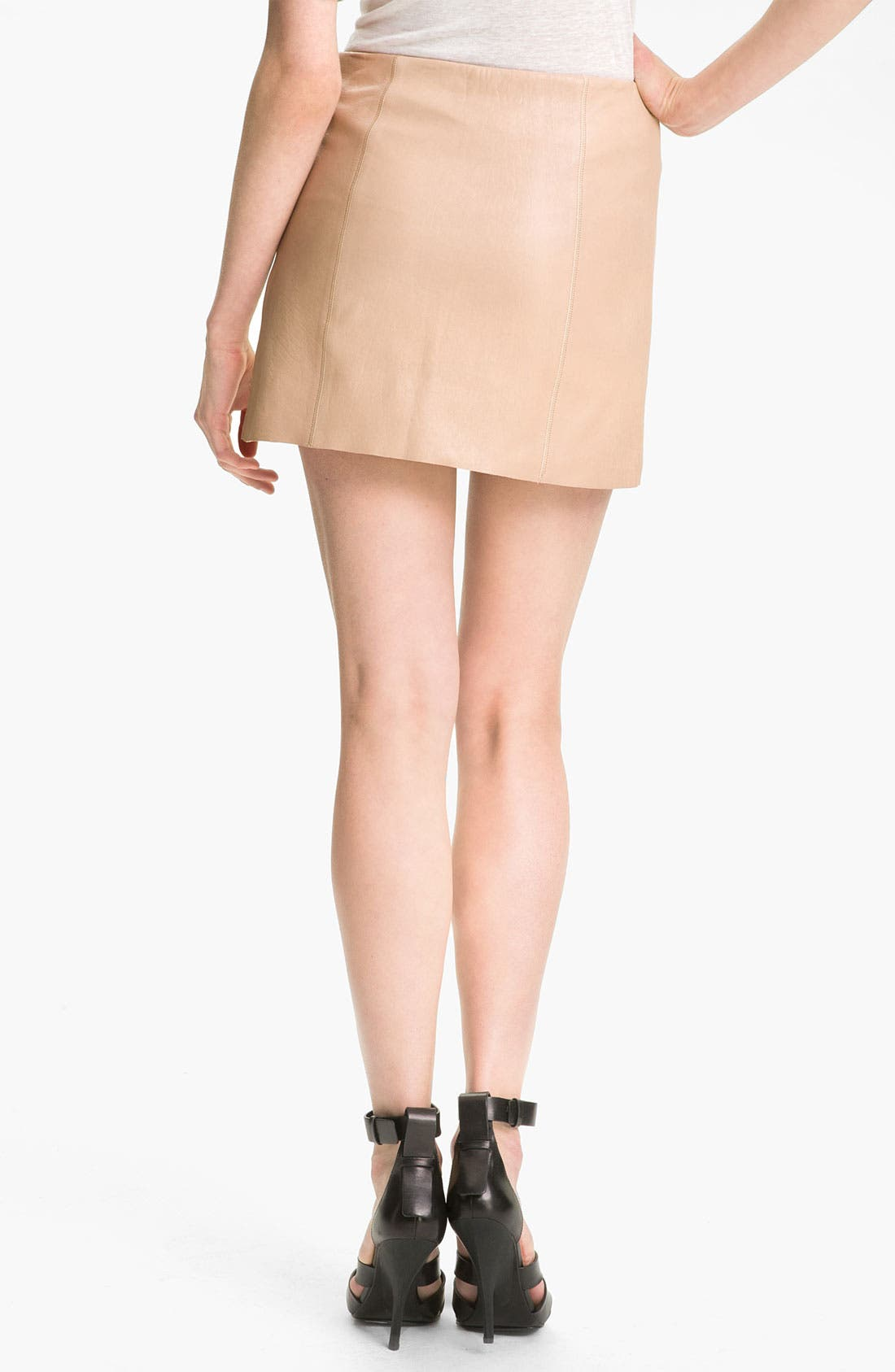 Alternate Image 2  - T by Alexander Wang Leather A-Line Miniskirt