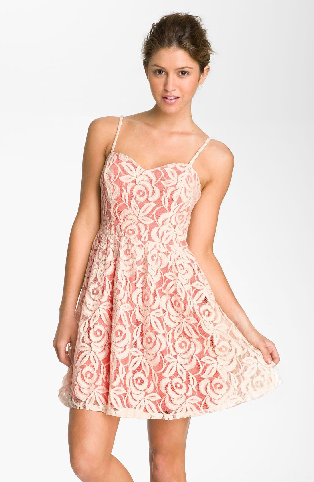 Main Image - Fire Lace Dress (Juniors)