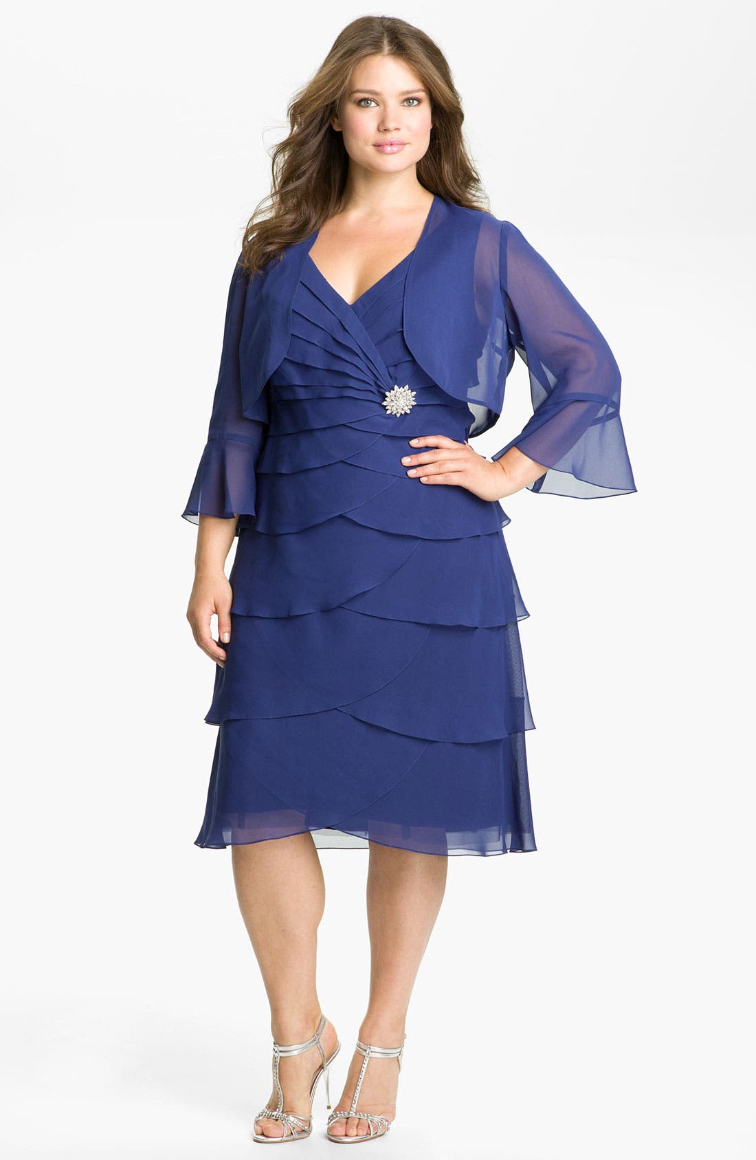 Alternate Image 1 Selected - Alex Evenings Tiered Chiffon Dress & Bolero (Plus)