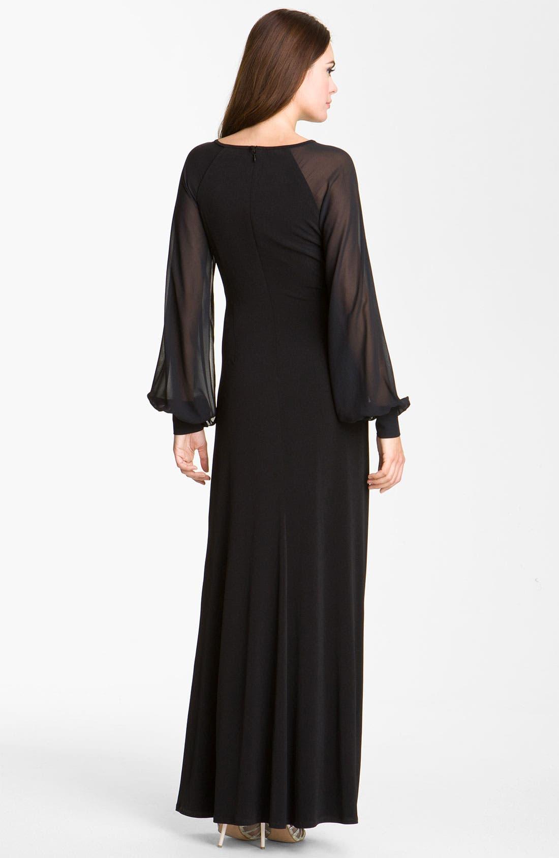 Alternate Image 2  - Eliza J Chiffon Sleeve Jersey Gown