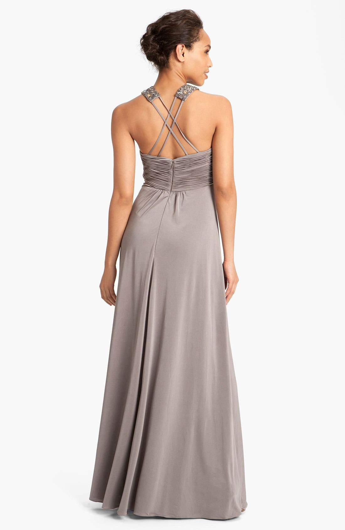 Alternate Image 2  - JS Boutique Embellished Charmeuse Gown