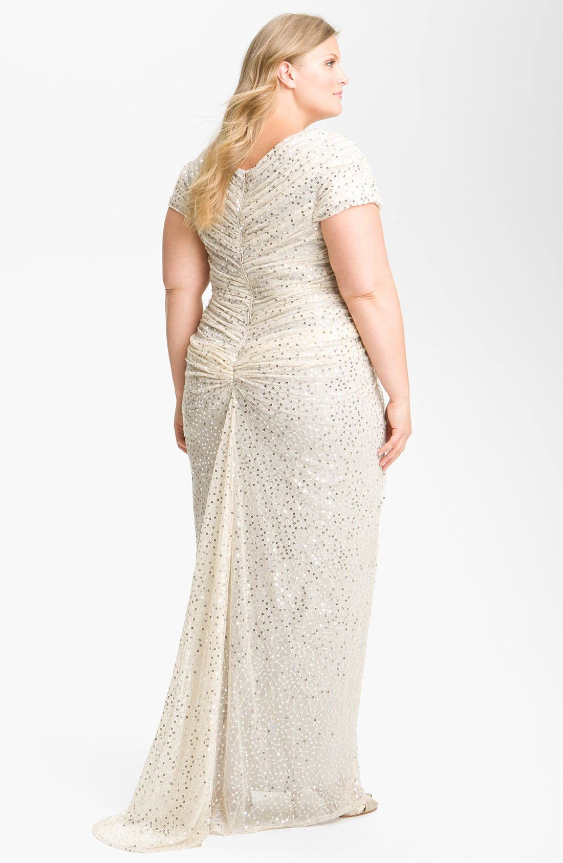 Alternate Image 2  - Tadashi Shoji Beaded Pleated Gown (Plus Size)