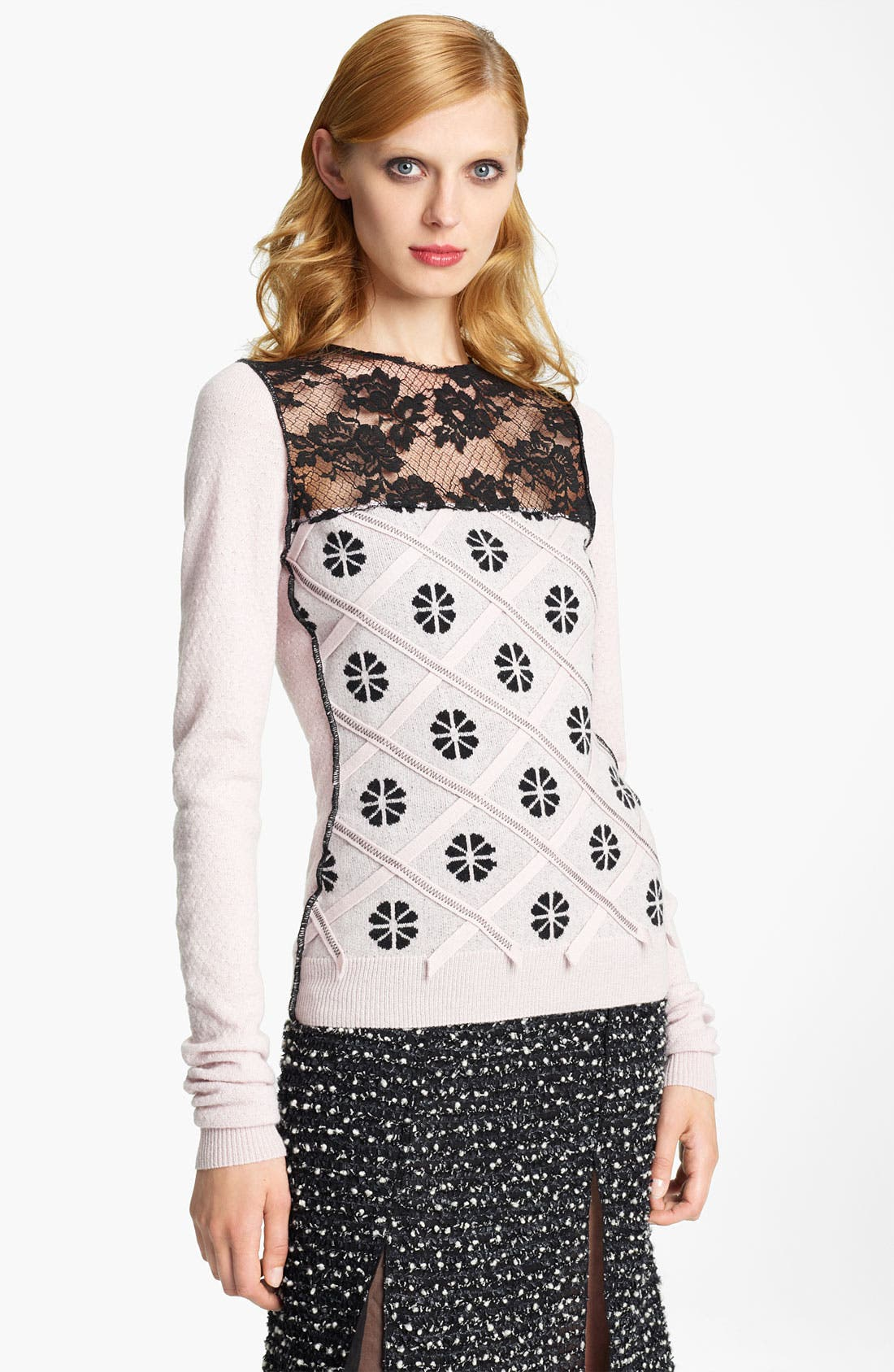 Alternate Image 1 Selected - Nina Ricci Lace Inset Knit Top