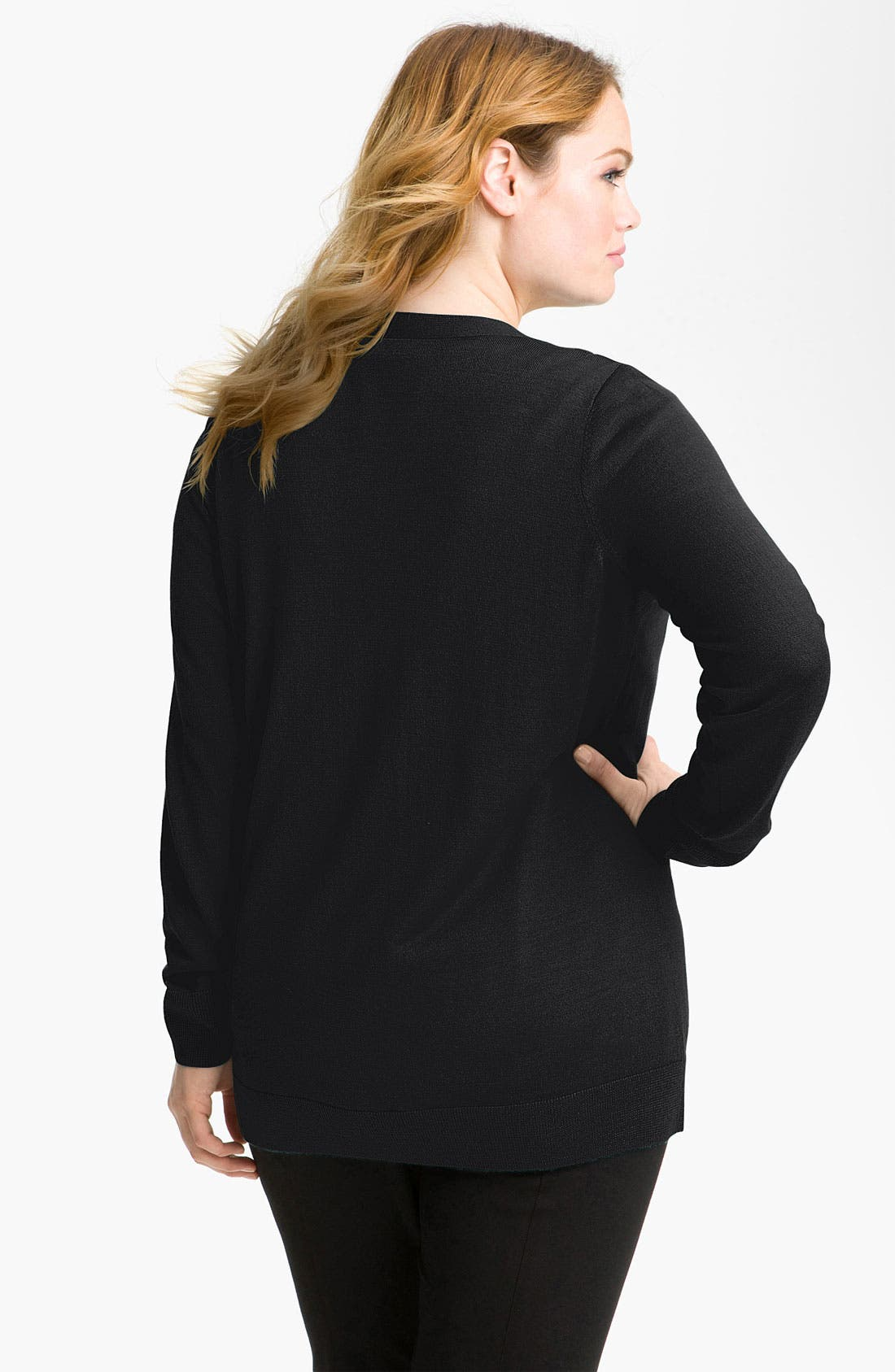 Alternate Image 2  - Sejour Ribbed Two Pocket Cardigan (Plus)