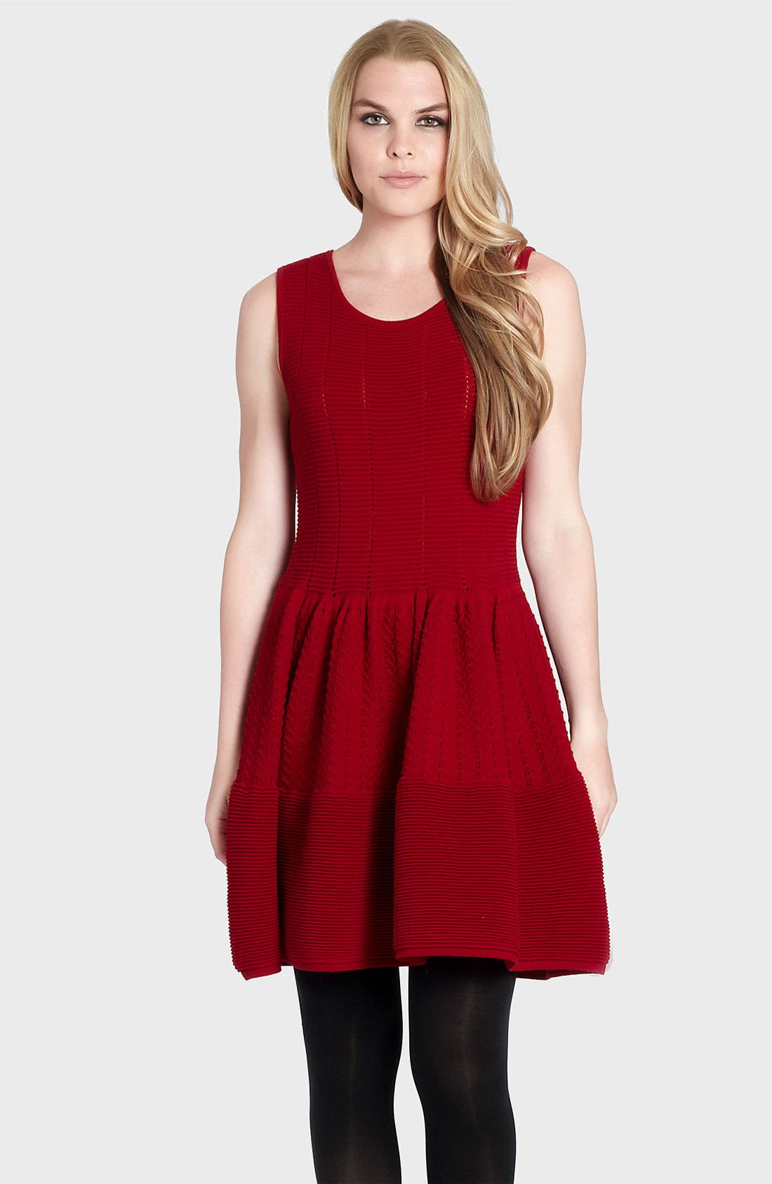 Main Image - Cynthia Steffe 'Carly' Pointelle Wool Blend Sweater Dress