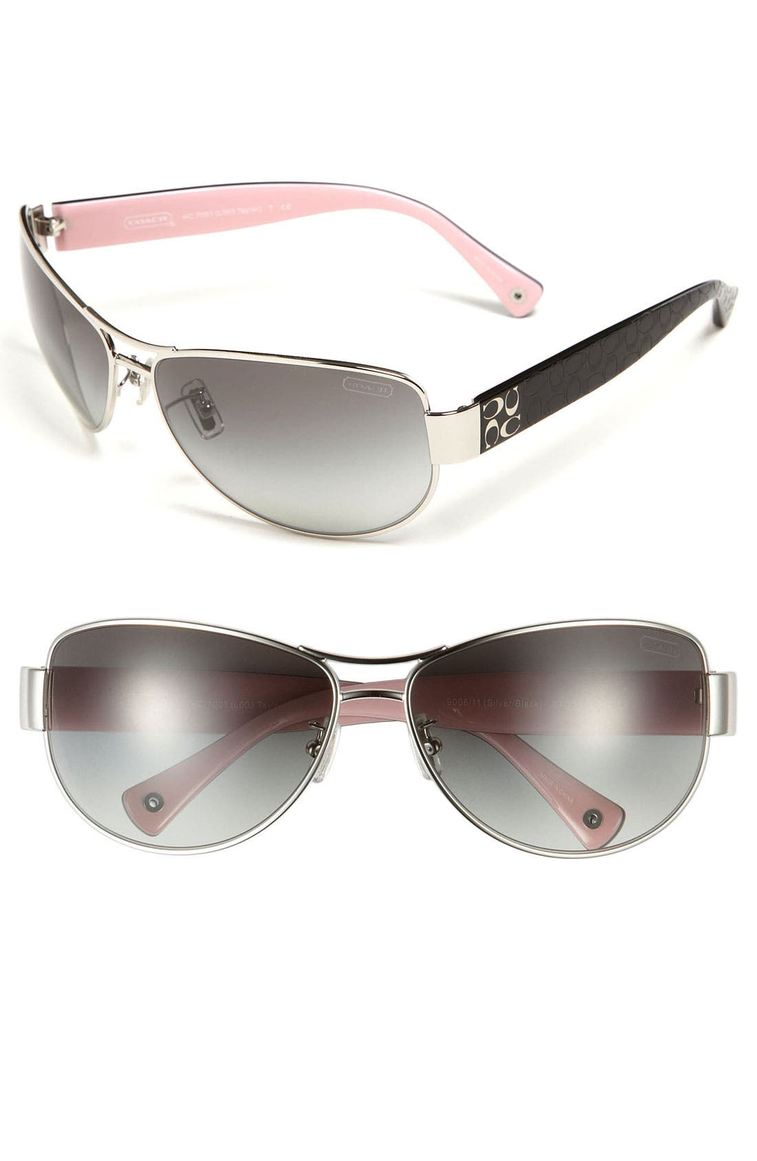 Main Image - COACH 63mm Metal Aviator Sunglasses