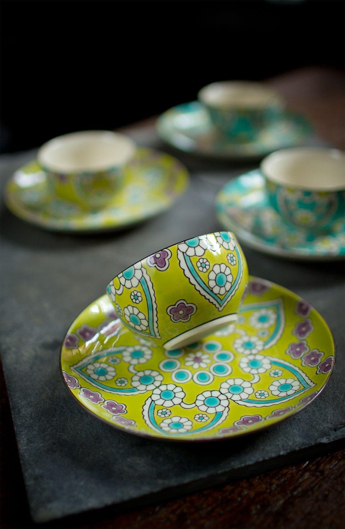 Alternate Image 2  - Hand-Painted 'Lotus' Dessert Plates (Set of 4)