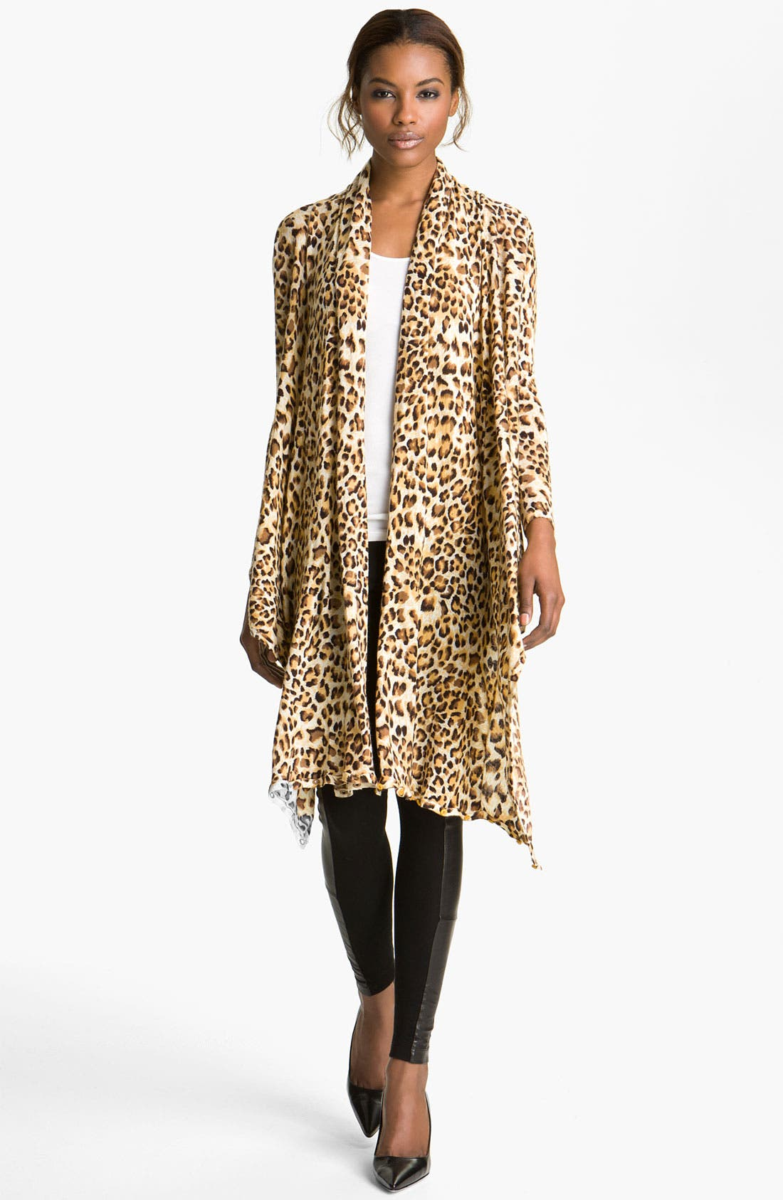 Main Image - Alice + Olivia 'Saria' Leopard Print Open Front Cardigan