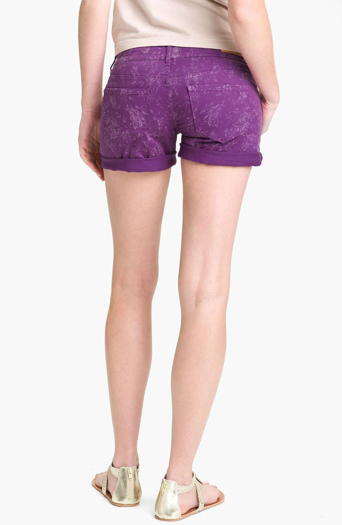 Main Image - Articles of Society 'Kara' Cuff Denim Shorts (Flower) (Juniors)