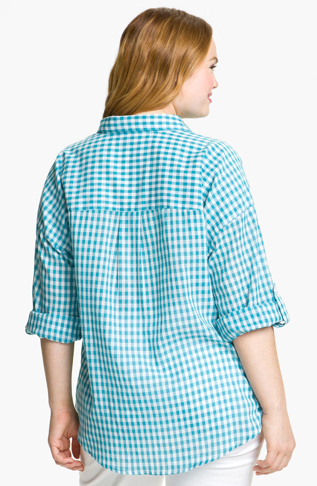Alternate Image 2  - Sandra Ingrish Gingham Check Shirt (Plus)