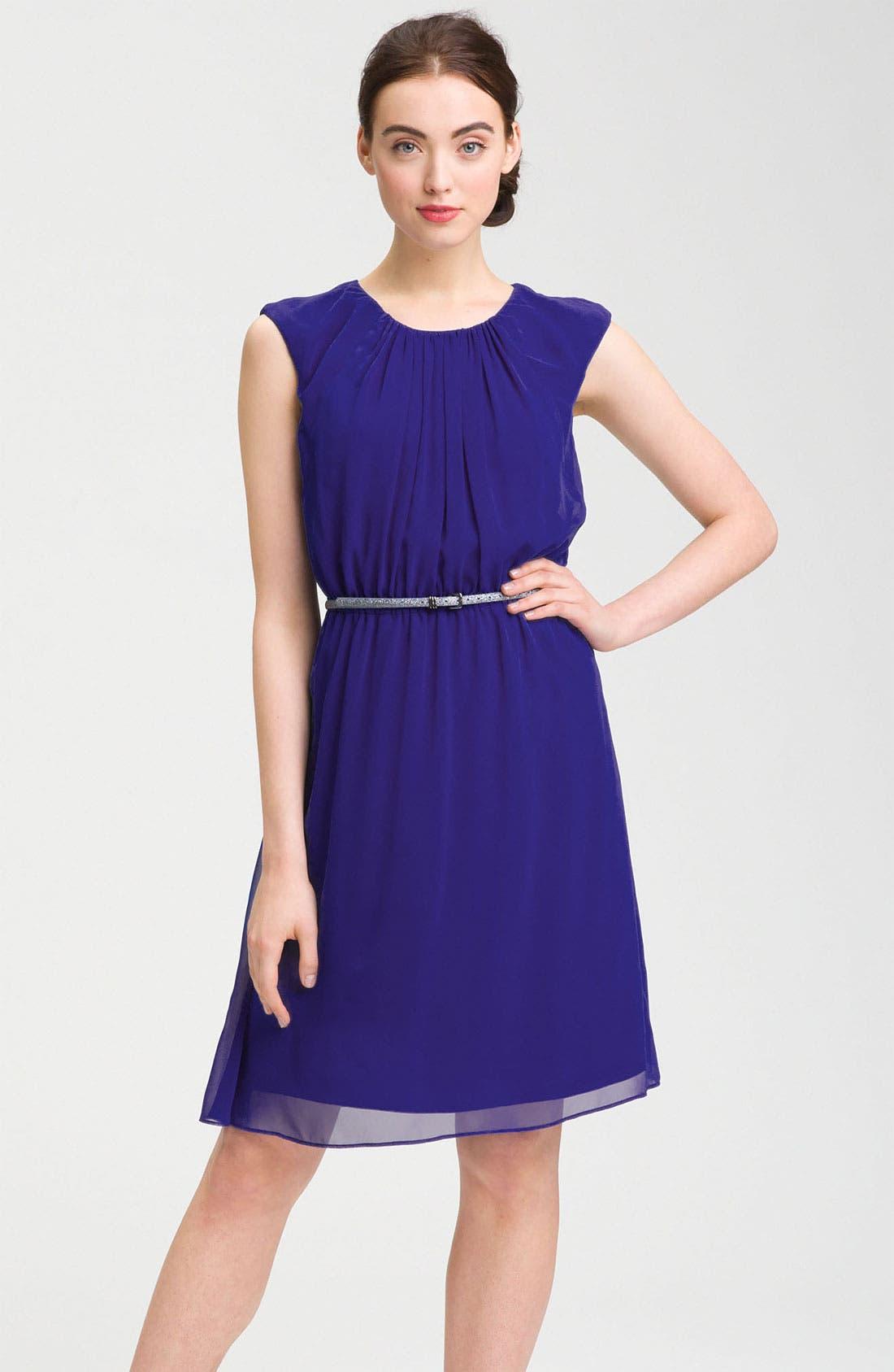 Alternate Image 1 Selected - Calvin Klein Cap Sleeve Belted Crêpe de Chine Dress