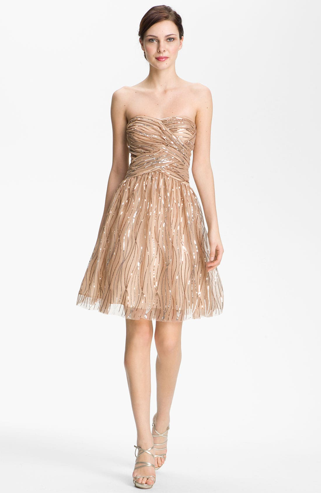 Alternate Image 1 Selected - Hailey by Adrianna Papell Strapless Sequined Mesh Dress