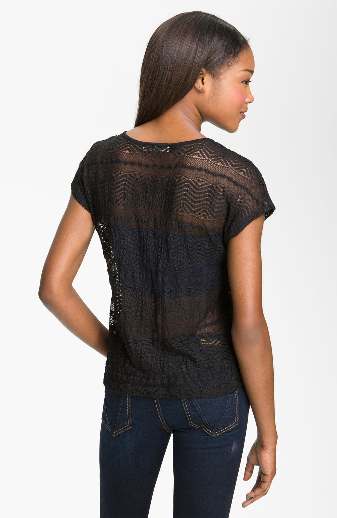 Alternate Image 2  - Painted Threads Scalloped Lace Tee (Juniors)