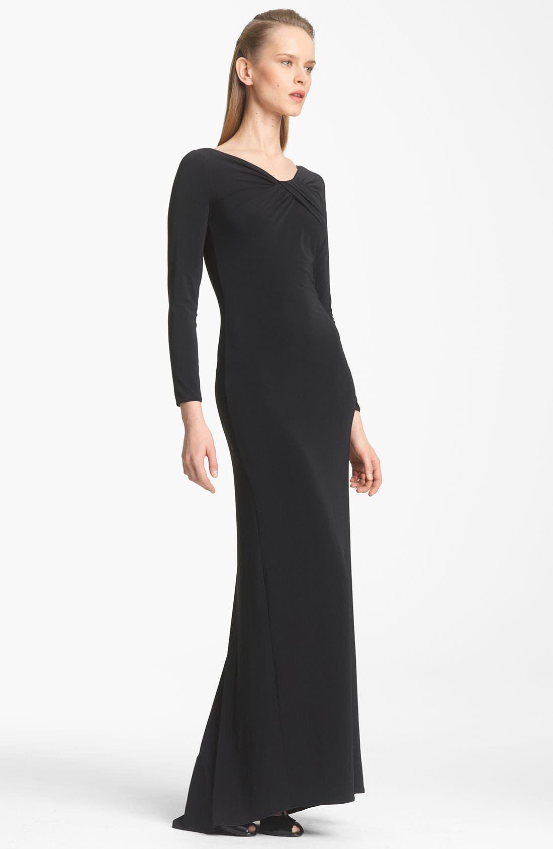 Main Image - Armani Collezioni Twist Front Matte Jersey Gown