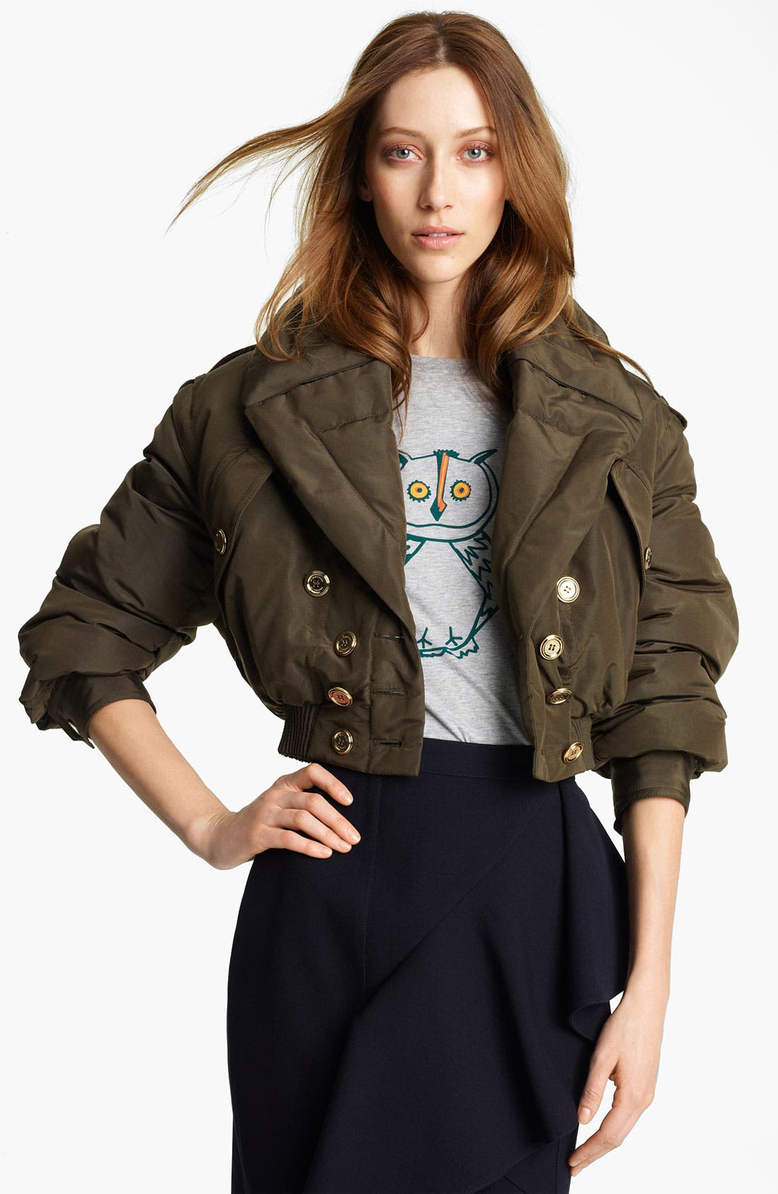 Alternate Image 1 Selected - Burberry Prorsum Mulberry Silk Crop Puffer Jacket