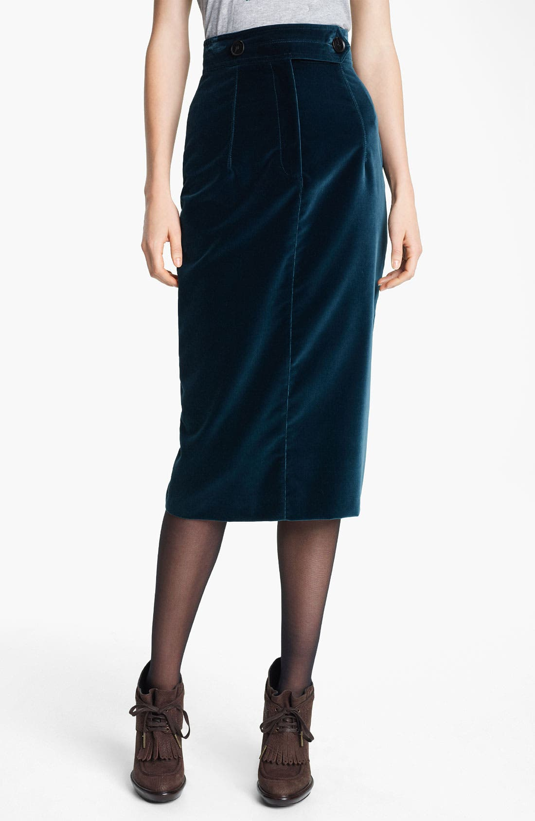 Main Image - Burberry Prorsum Velvet Pencil Skirt