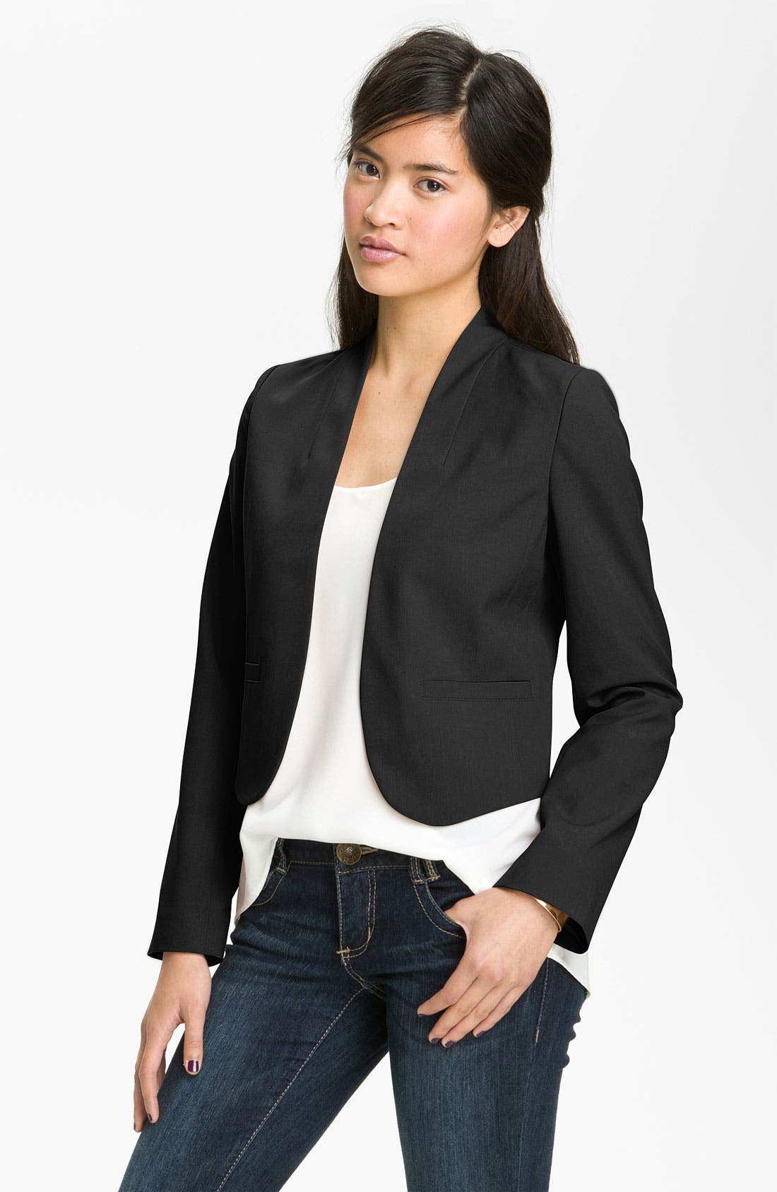 Main Image - Frenchi® Crop Blazer (Juniors)