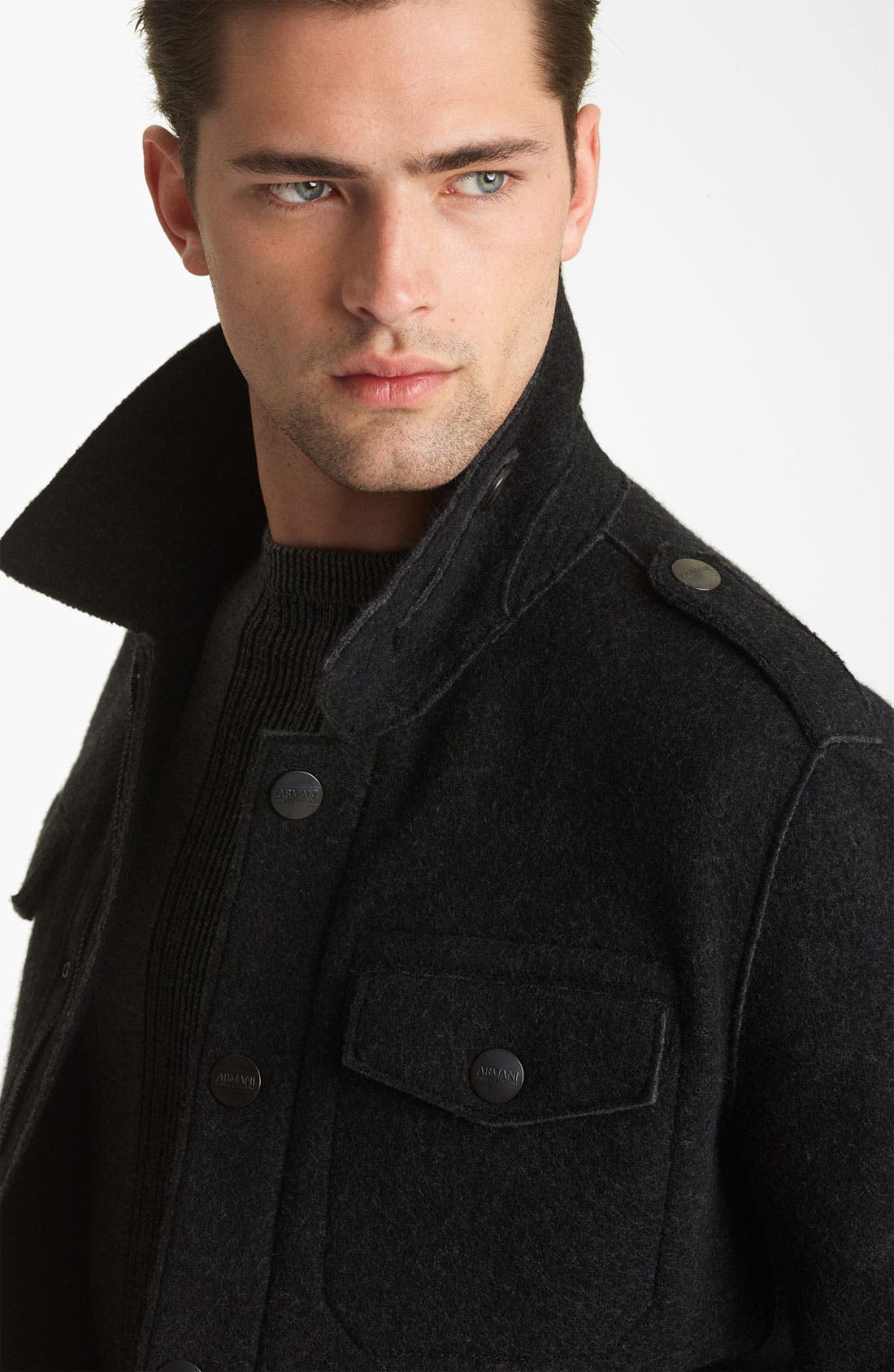 Alternate Image 3  - Armani Collezioni Boiled Wool Military Jacket