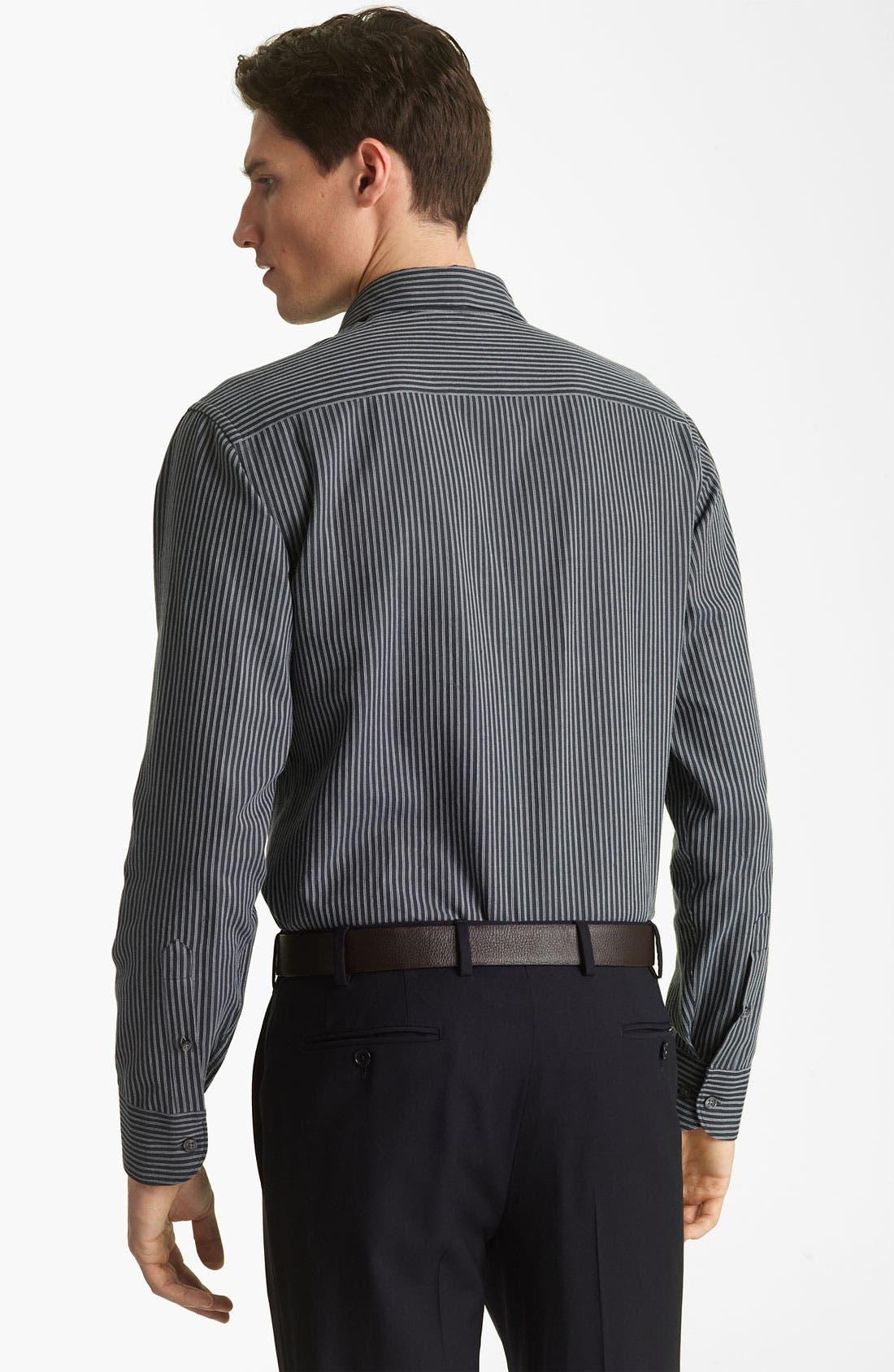 Alternate Image 2  - Armani Collezioni Stripe Sport Shirt