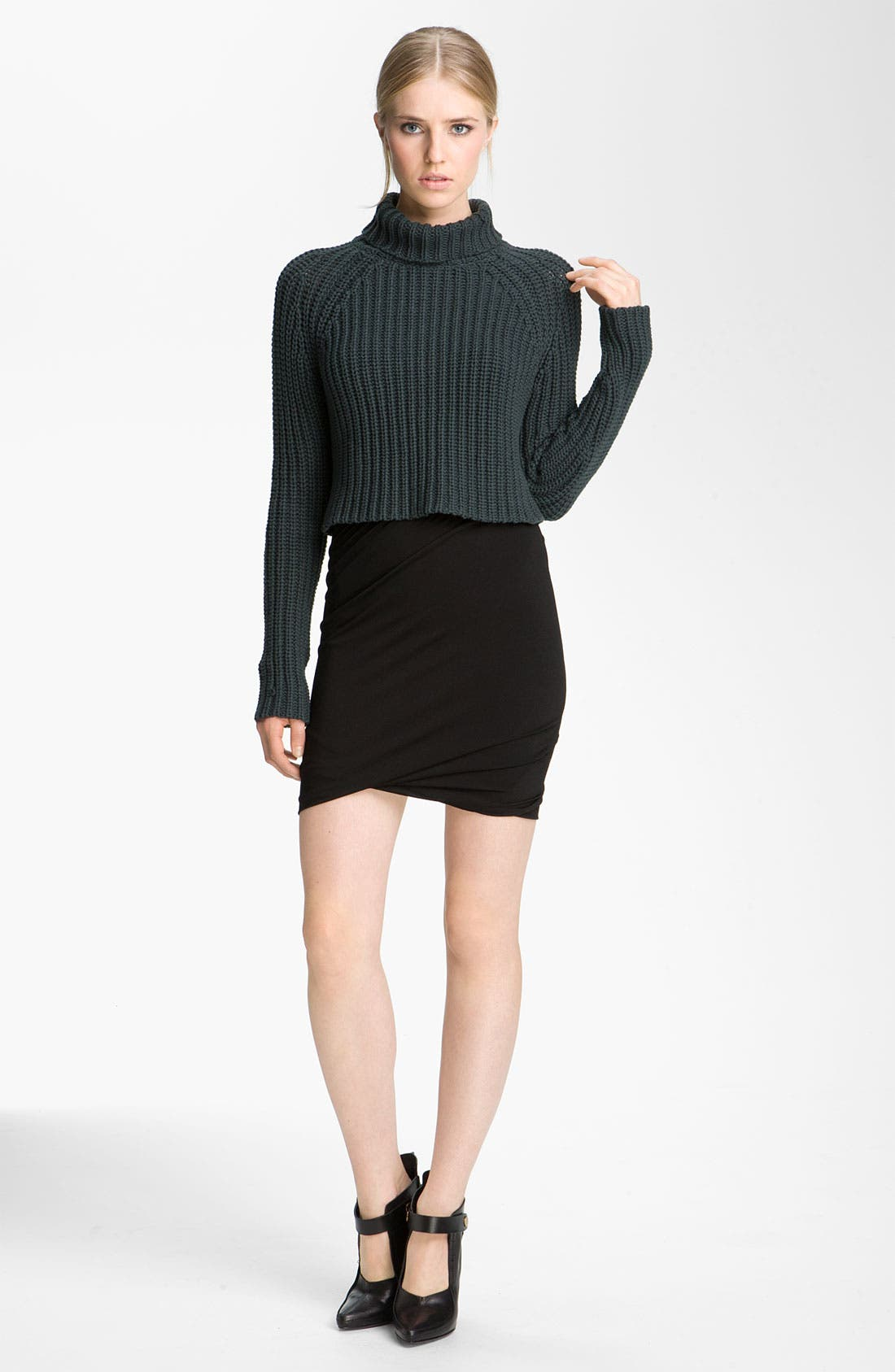 Alternate Image 1 Selected - T by Alexander Wang Crop Turtleneck Sweater