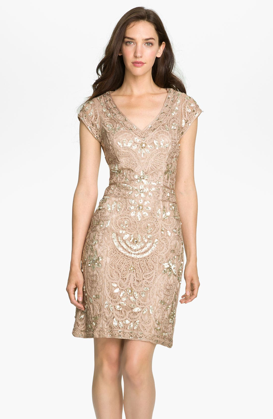 Alternate Image 1 Selected - Sue Wong Beaded Soutache Sheath Dress