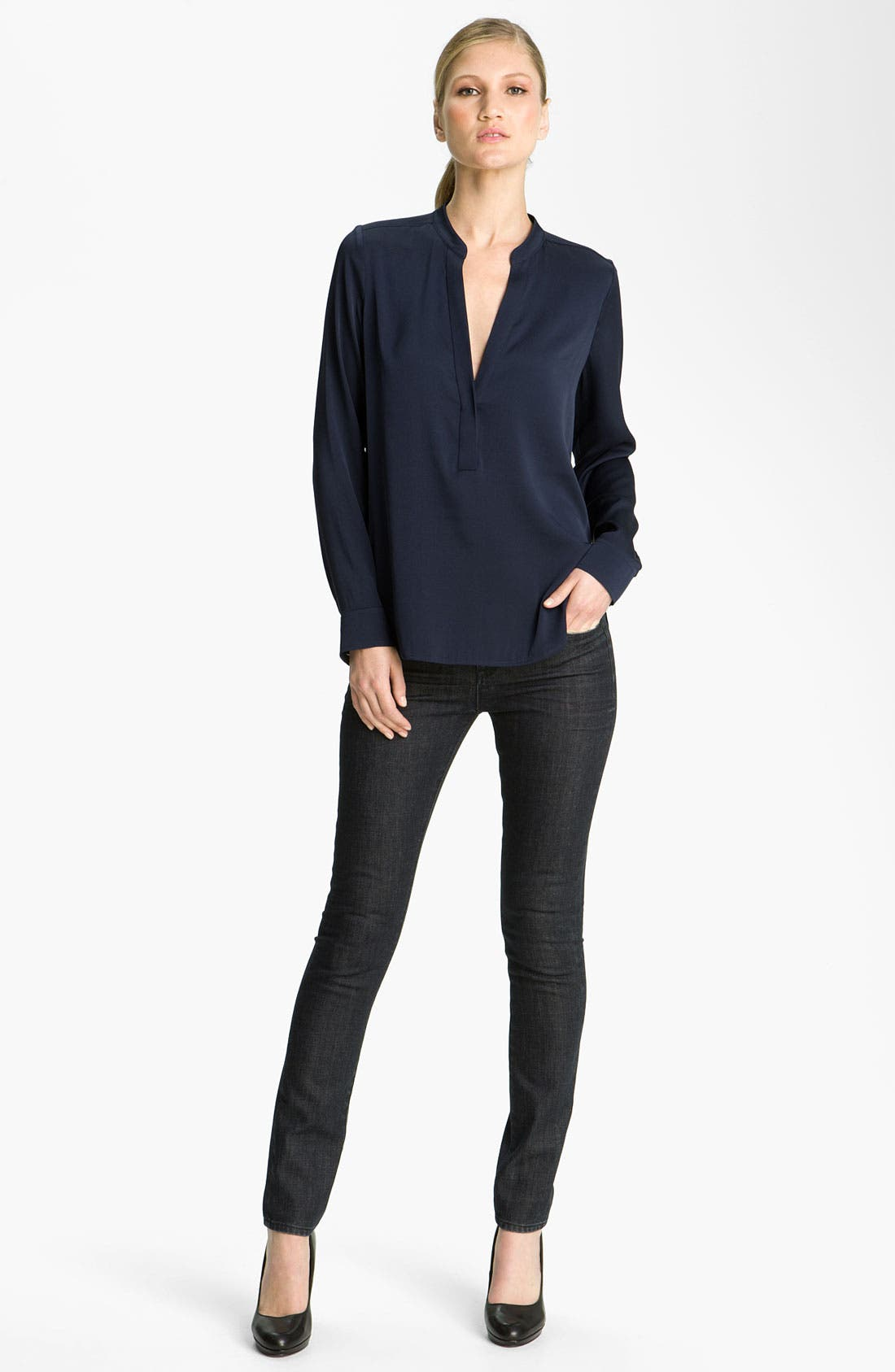 Main Image - Vince Silk Blouse & Skinny Jeans