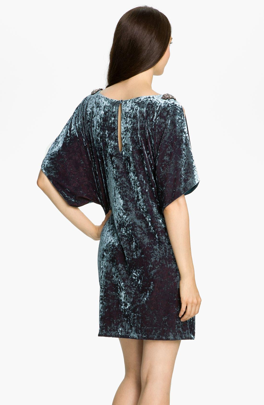 Alternate Image 2  - Aidan Mattox Split Sleeve Crushed Velvet Shift Dress