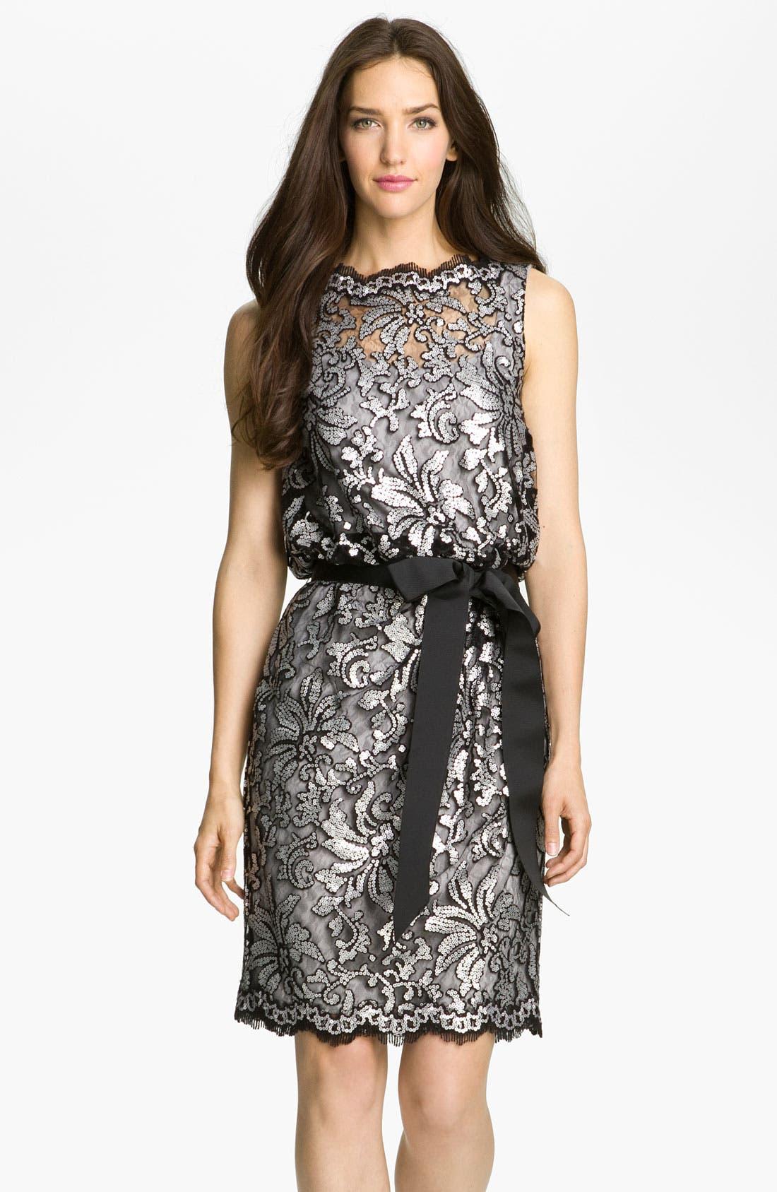 Main Image - Tadashi Shoji Sequin Lace Tulle Dress