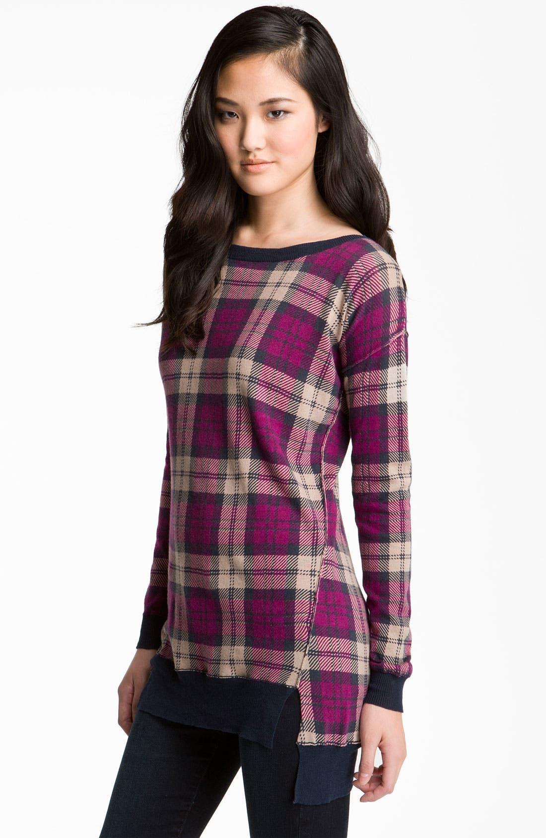 Alternate Image 1 Selected - Trouvé Plaid Tunic Sweater