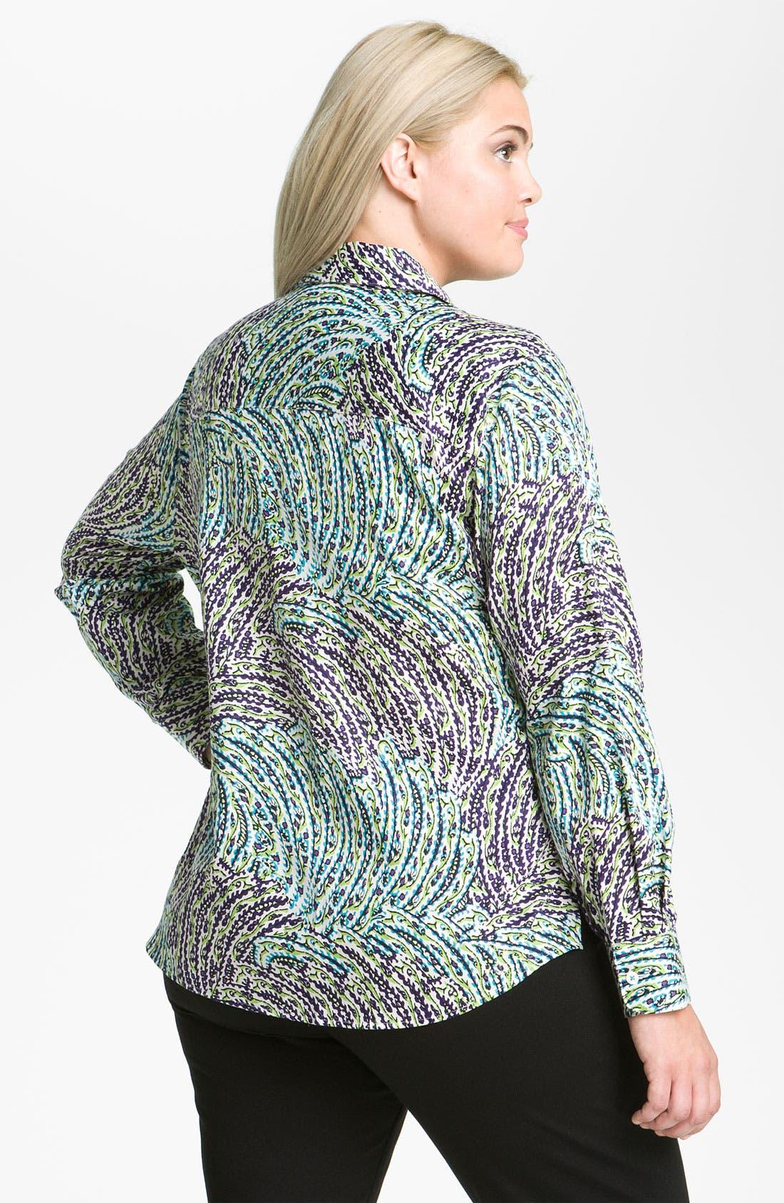 Alternate Image 2  - Foxcroft 'Garden' Long Sleeve Shaped Shirt (Plus)
