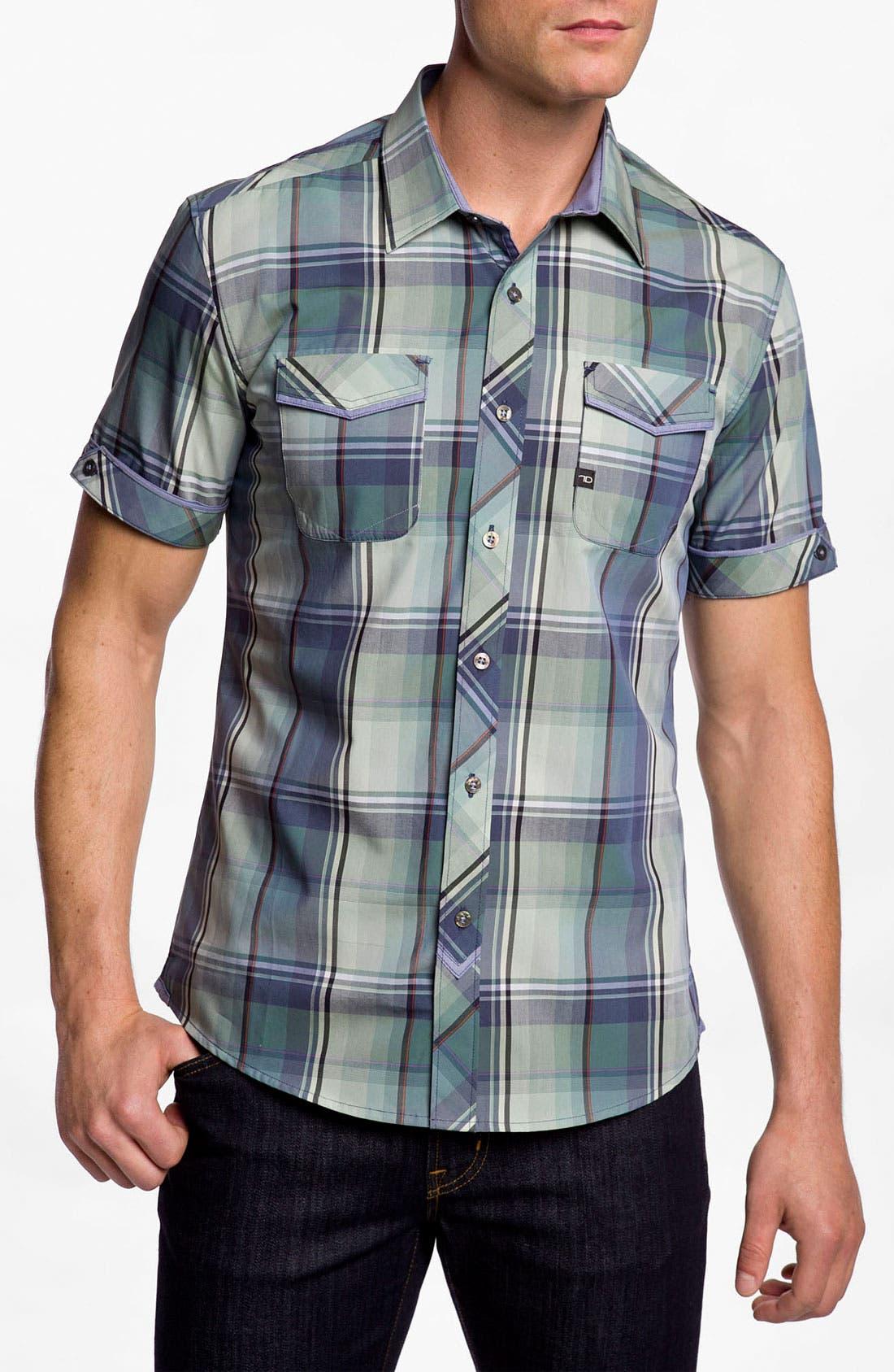 Main Image - 7 Diamonds 'Green Eyed Love' Plaid Woven Short Sleeve Shirt