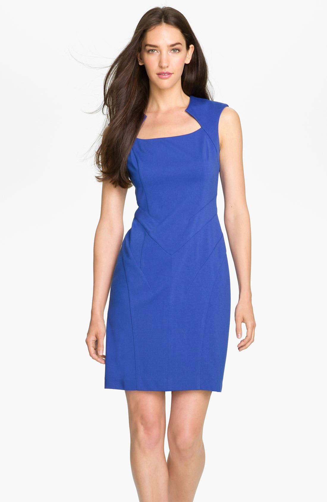 Alternate Image 1 Selected - Vince Camuto Seam Detail Ponte Sheath Dress