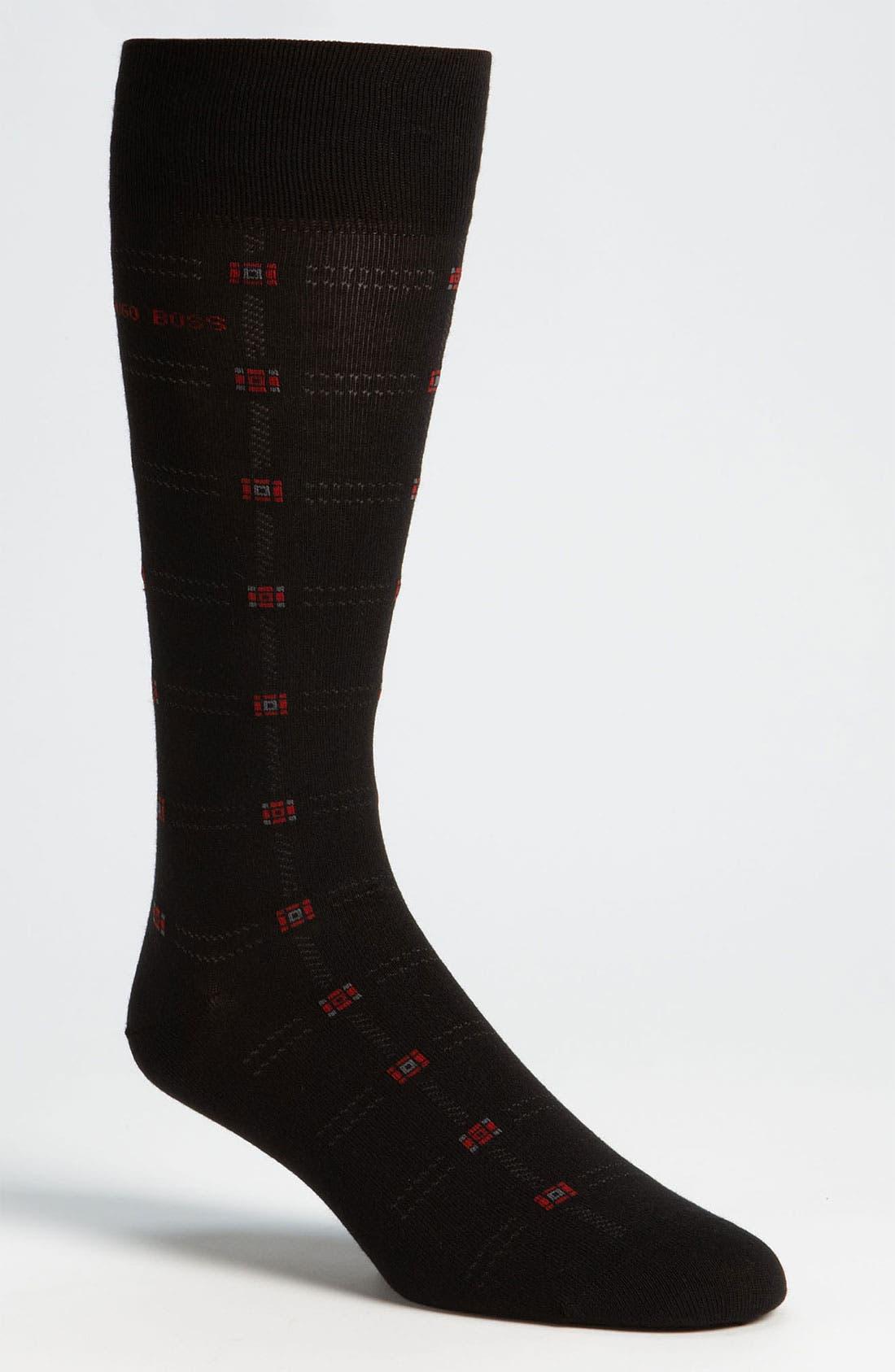 Main Image - BOSS Black Grid Socks