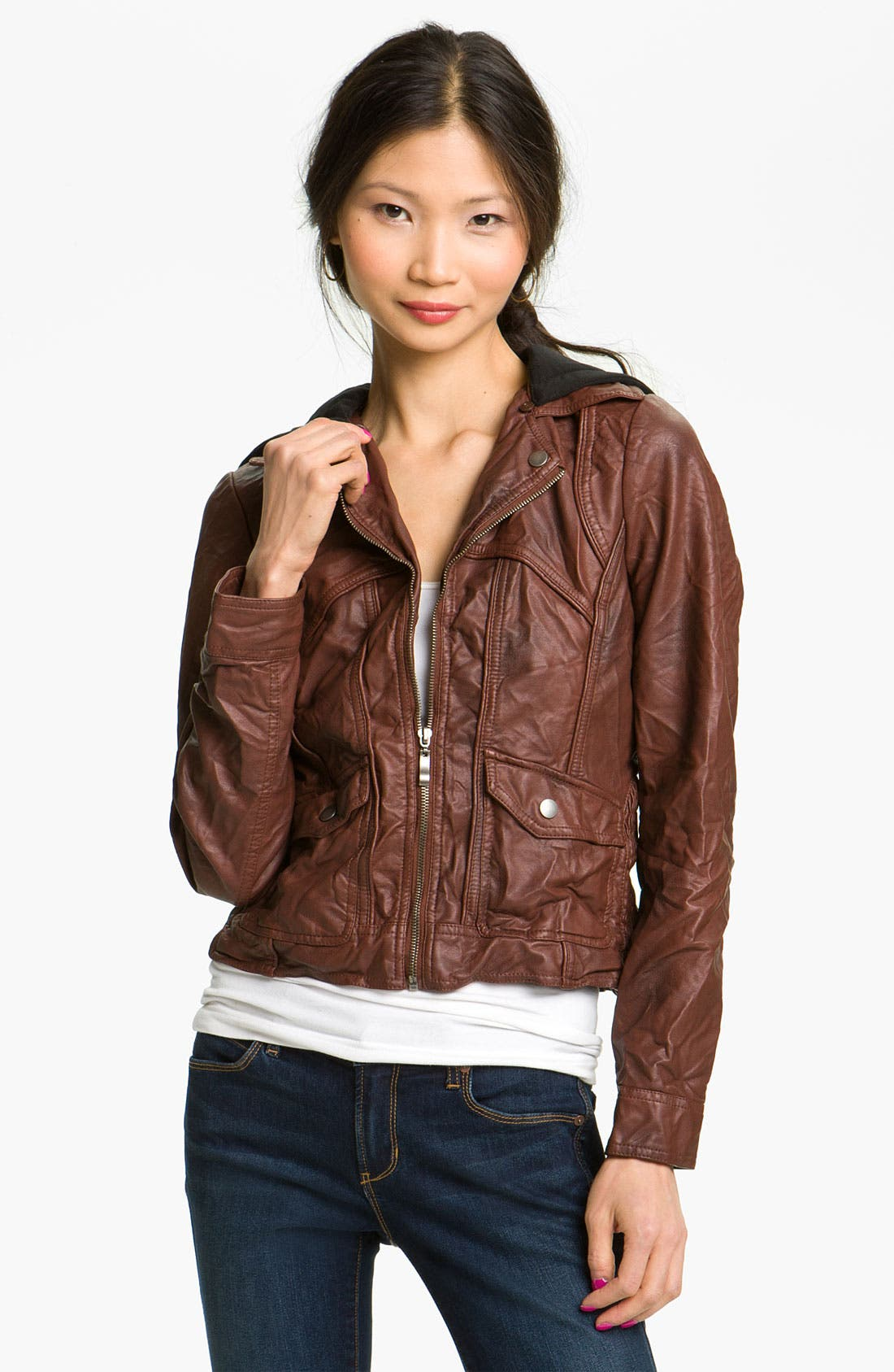 Alternate Image 1 Selected - Collection B Faux Leather Jacket with Fleece Hood (Juniors)