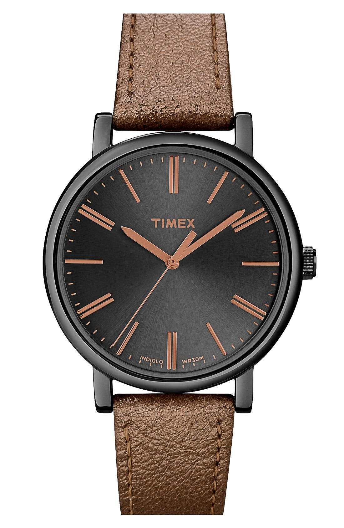 Main Image - Timex® Round Leather Strap Watch